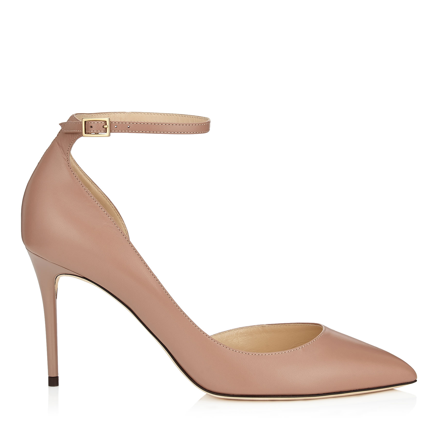 LUCY 85 Ballet Pink Kid Leather Pointy Toe Pumps