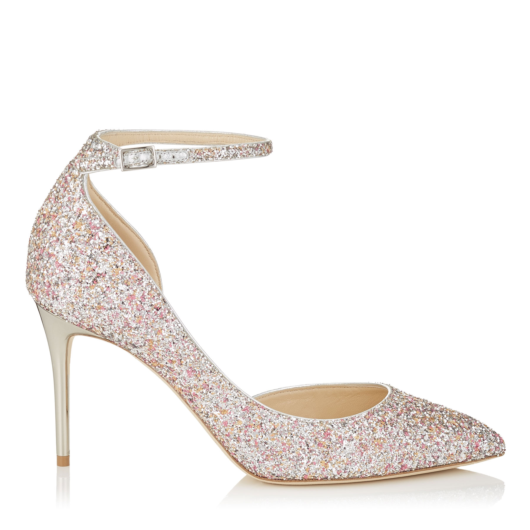 LUCY 85 Camellia Mix Speckled Glitter Pointy Toe Pumps