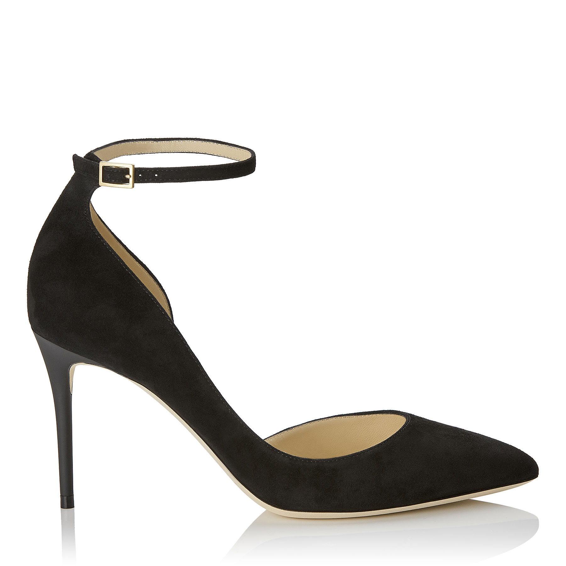 LUCY 85 Black Suede Pointy Toe Pumps