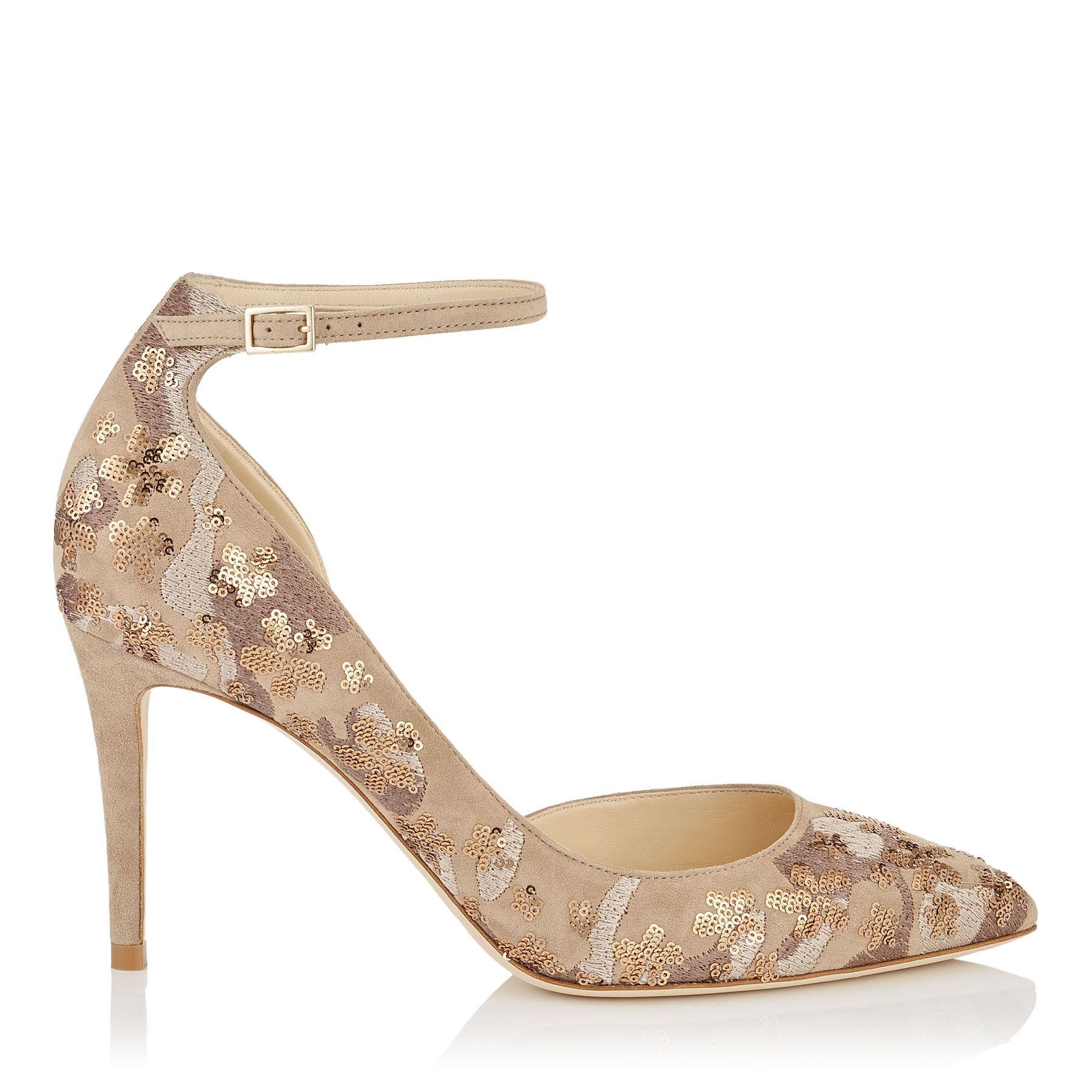 LUCY 85 Nude Floral Embroidery on Suede Pointy Toe Pumps