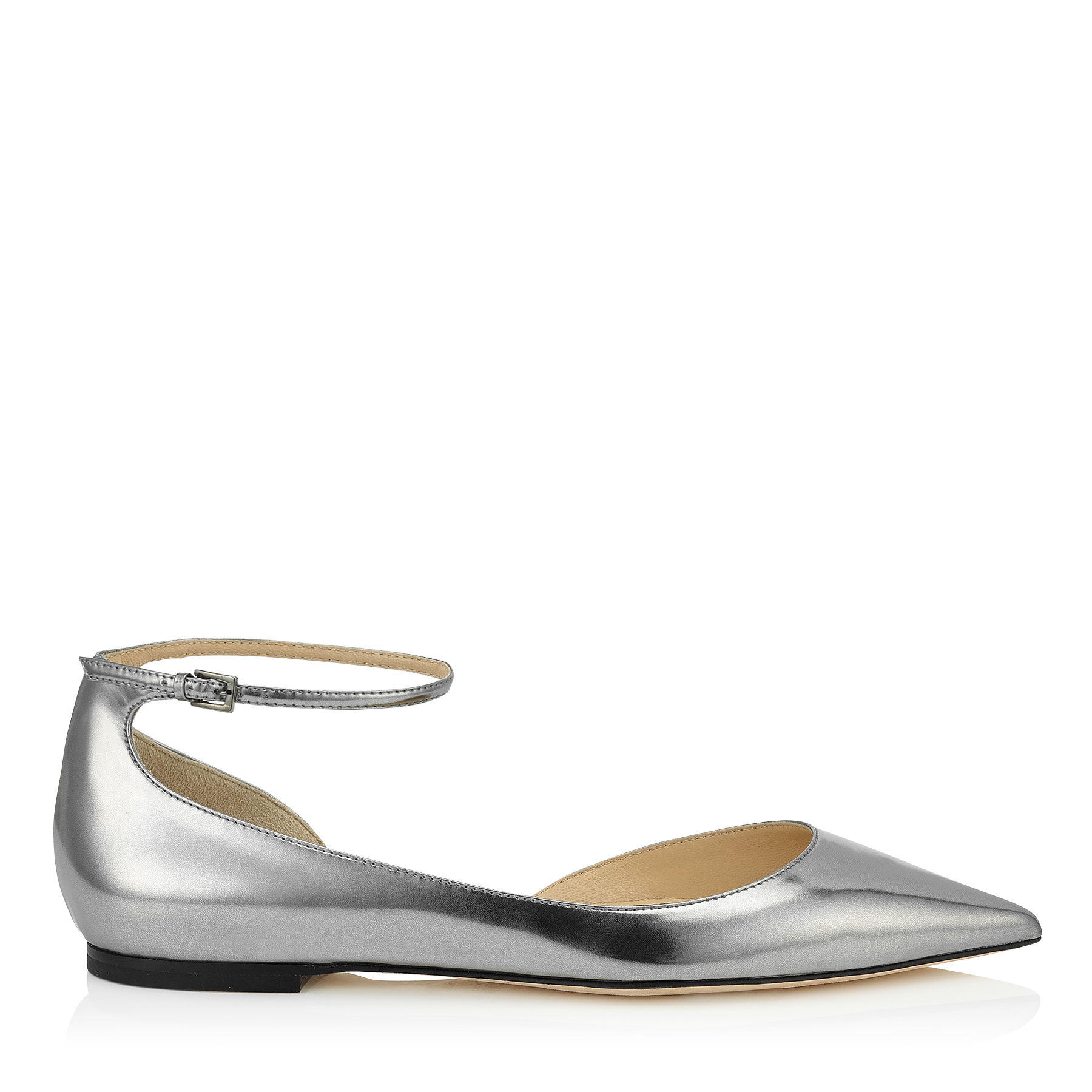 LUCY FLAT Steel Mirror Leather Pointy Toe Flats