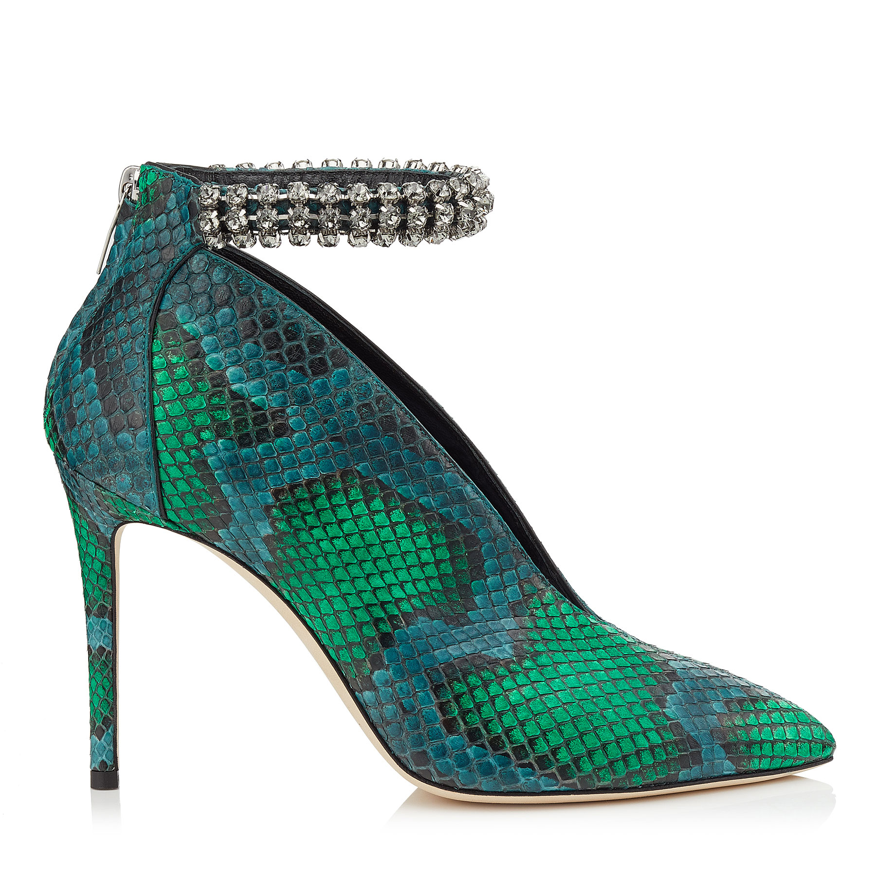 LUX 100 Bottle Green and Pop Green Matt Painted Python Booties with Crystal Anklet
