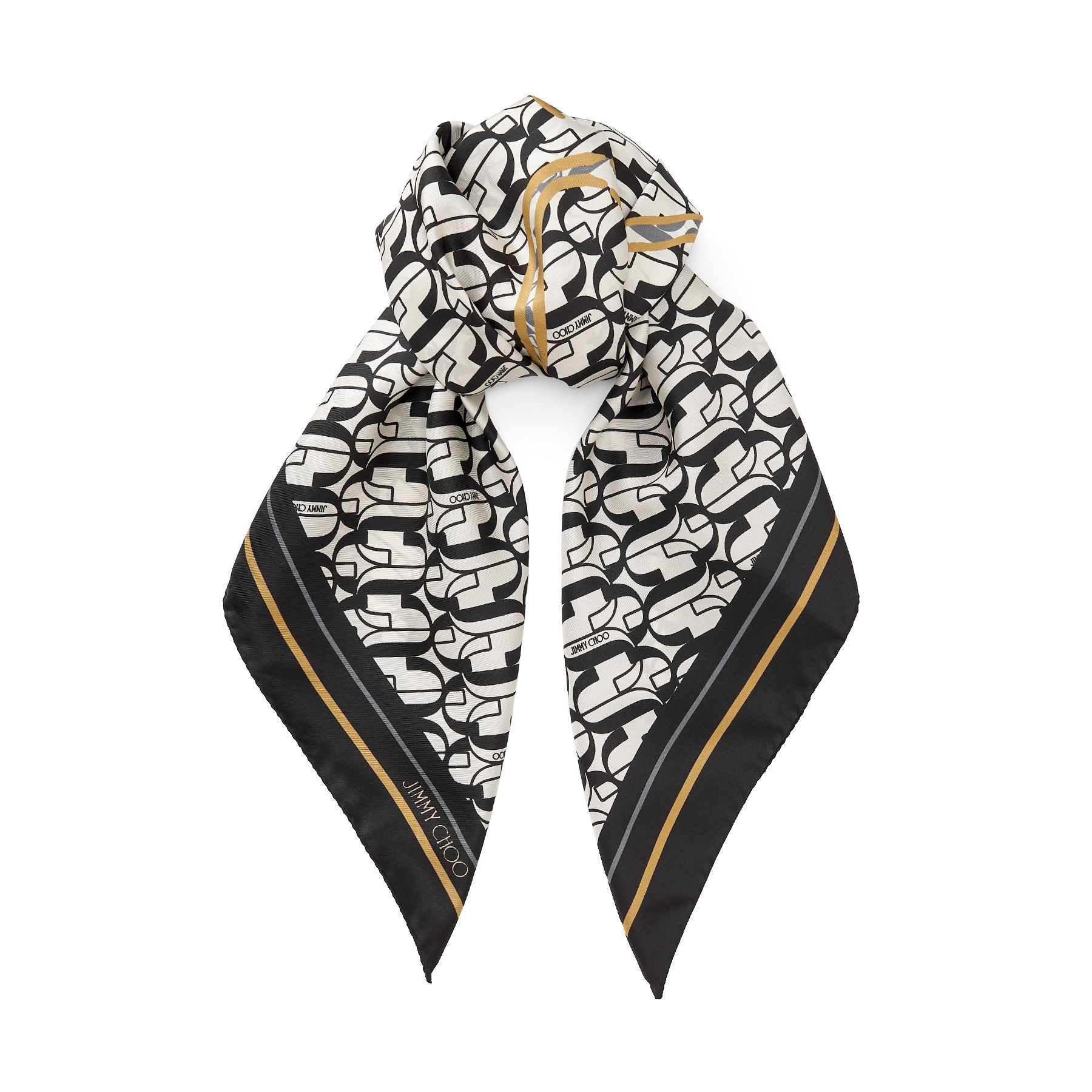 In pure silk, our latte LYNA printed twill foulard is ideal for elegantly accessorising endless looks. Crafted in Italy, it\\\'s made from 100 per cent soft silk and printed with our JC logo and iconic lance shoe.