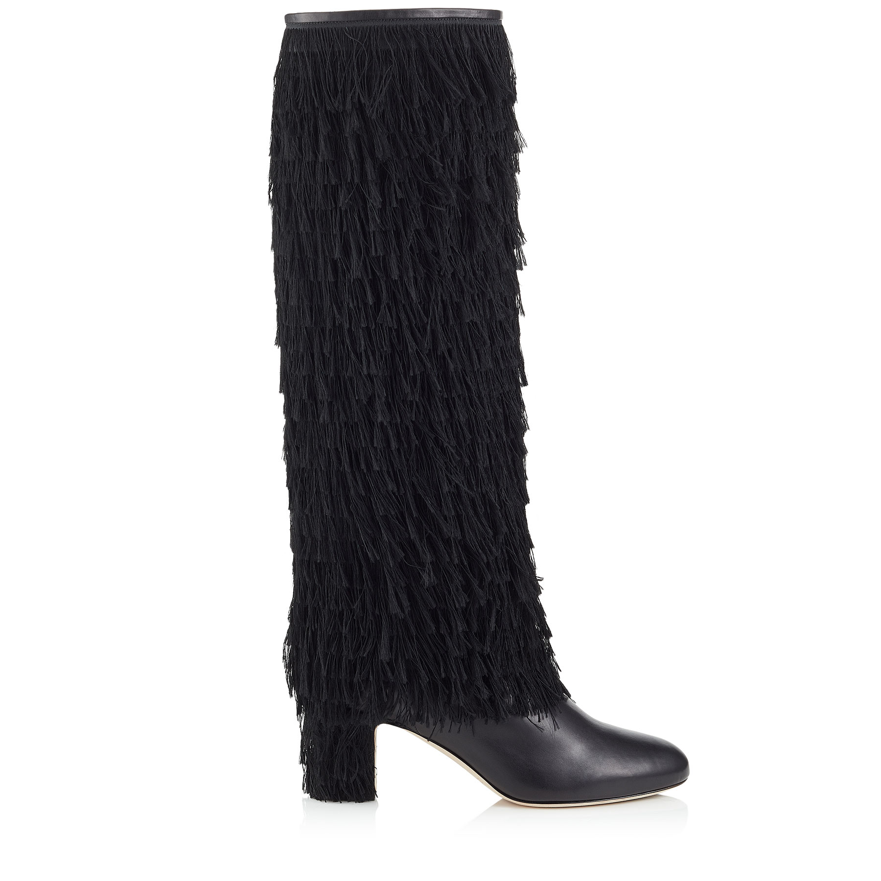 MAGALIE 65 Black Calf Leather Knee High Booties with Fringe Detailing by Jimmy Choo