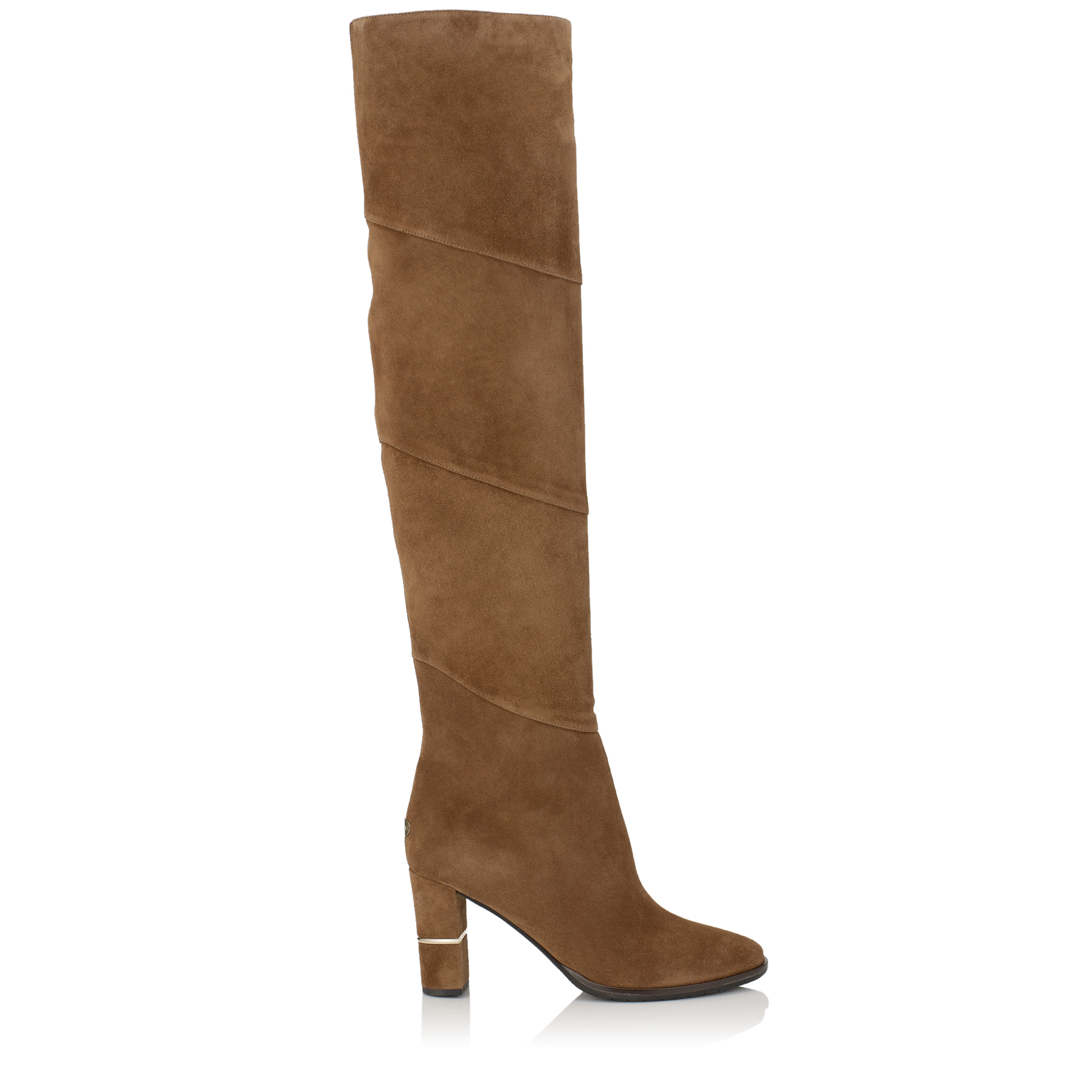 MAIRA 80 Khaki Brown Suede Over-the-Knee Boots