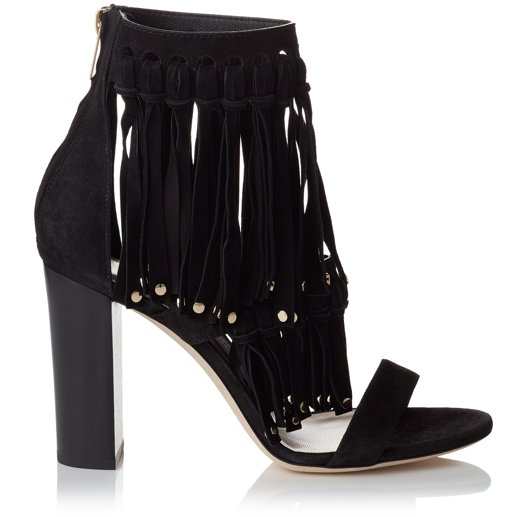 MALIA 95 Black Suede Sandals with Fringe Detailing and Studs by Jimmy Choo