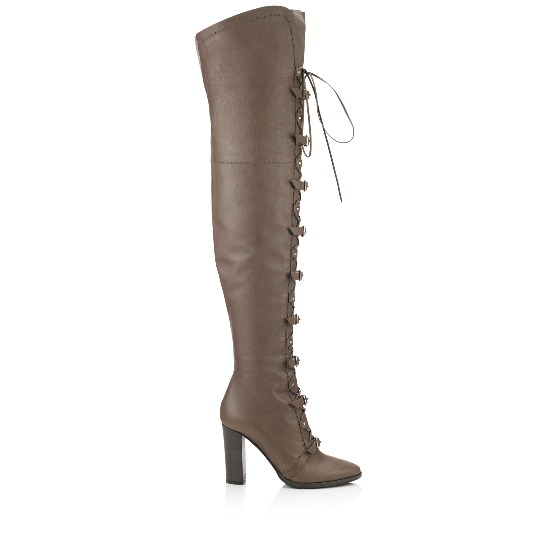 MALOY 95 Taupe Grey Leather Over-the-Knee Boots