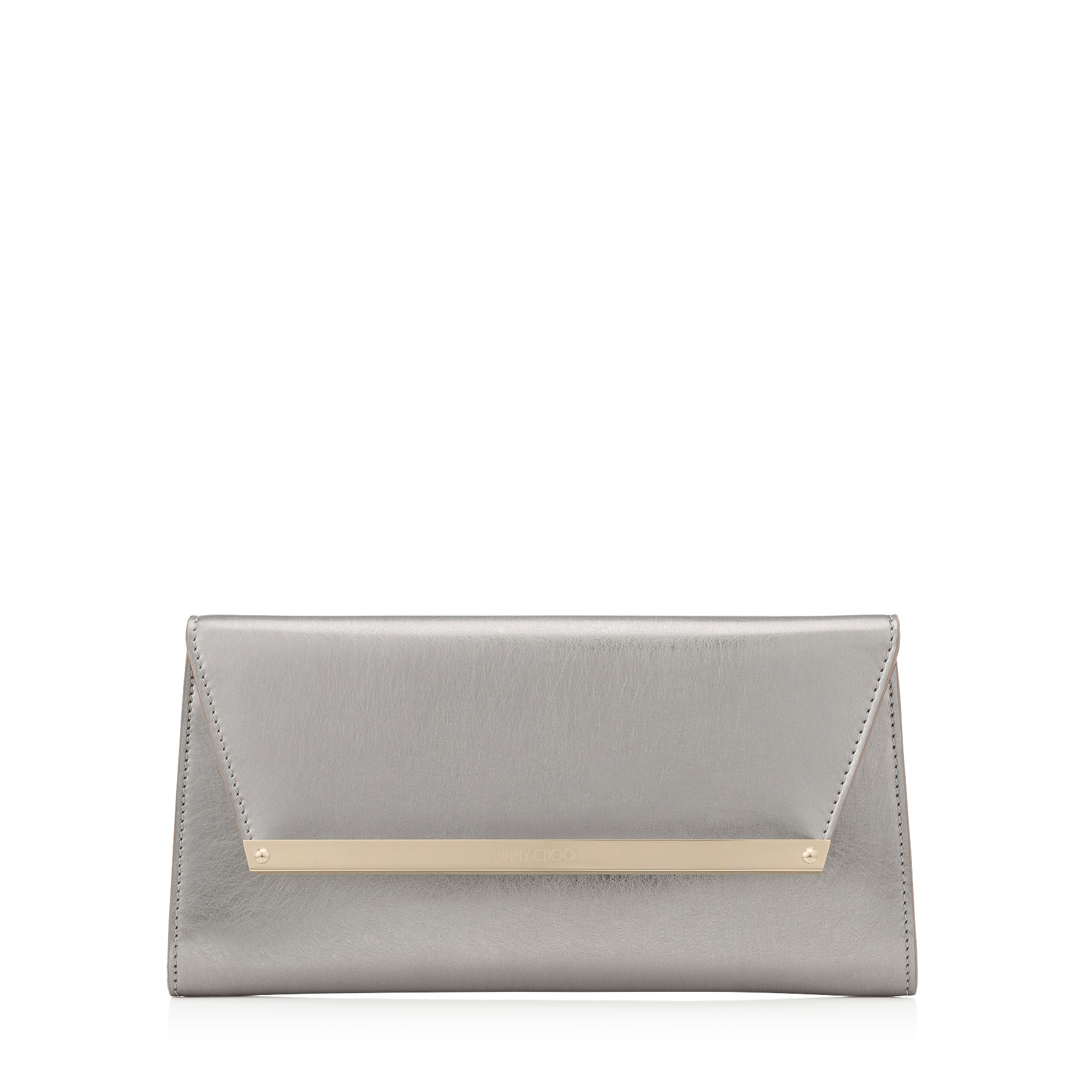 MARGOT Vintage Silver Etched Metallic Spazzolato Leather Accessory Clutch Bag