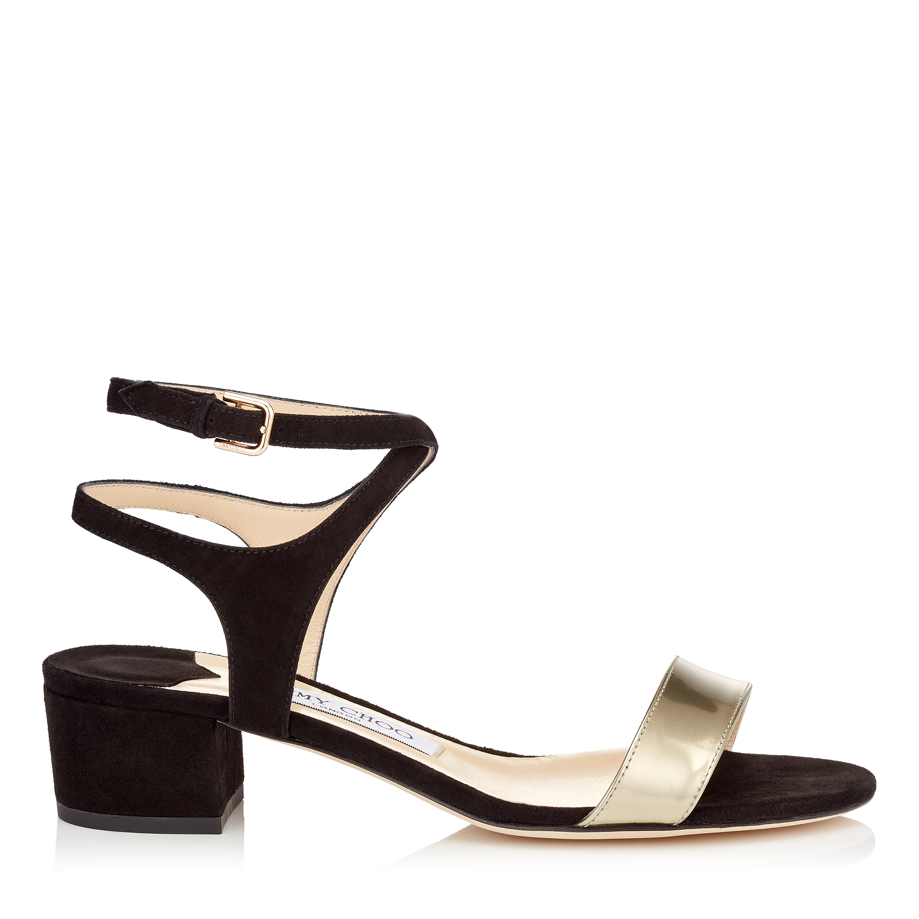 MARINE 35 Black Suede and Dore Liquid Mirror Leather Sandals by Jimmy Choo