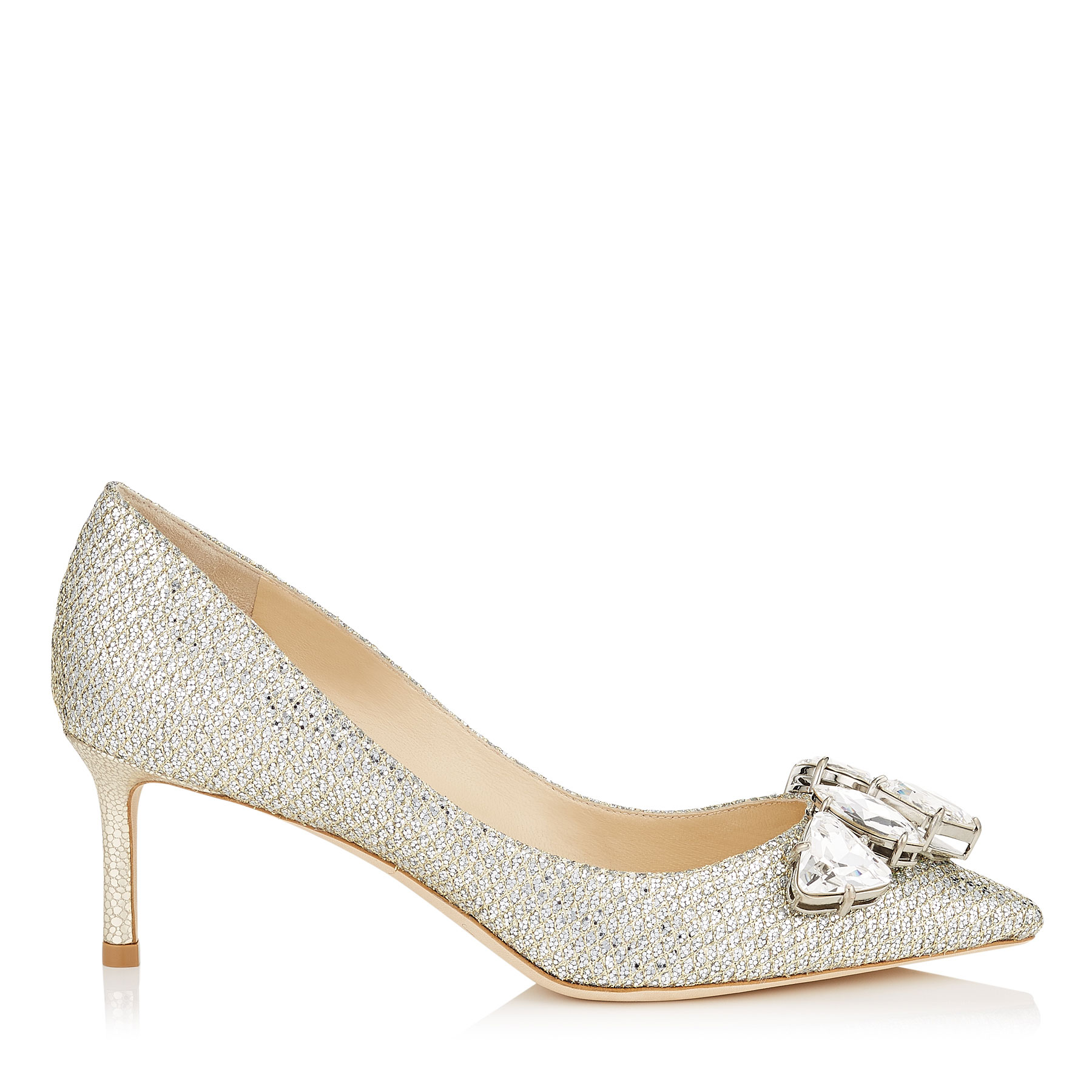 MARVEL 60 Champagne Glitter Fabric Pointy Toe Pumps with Crystal Piece
