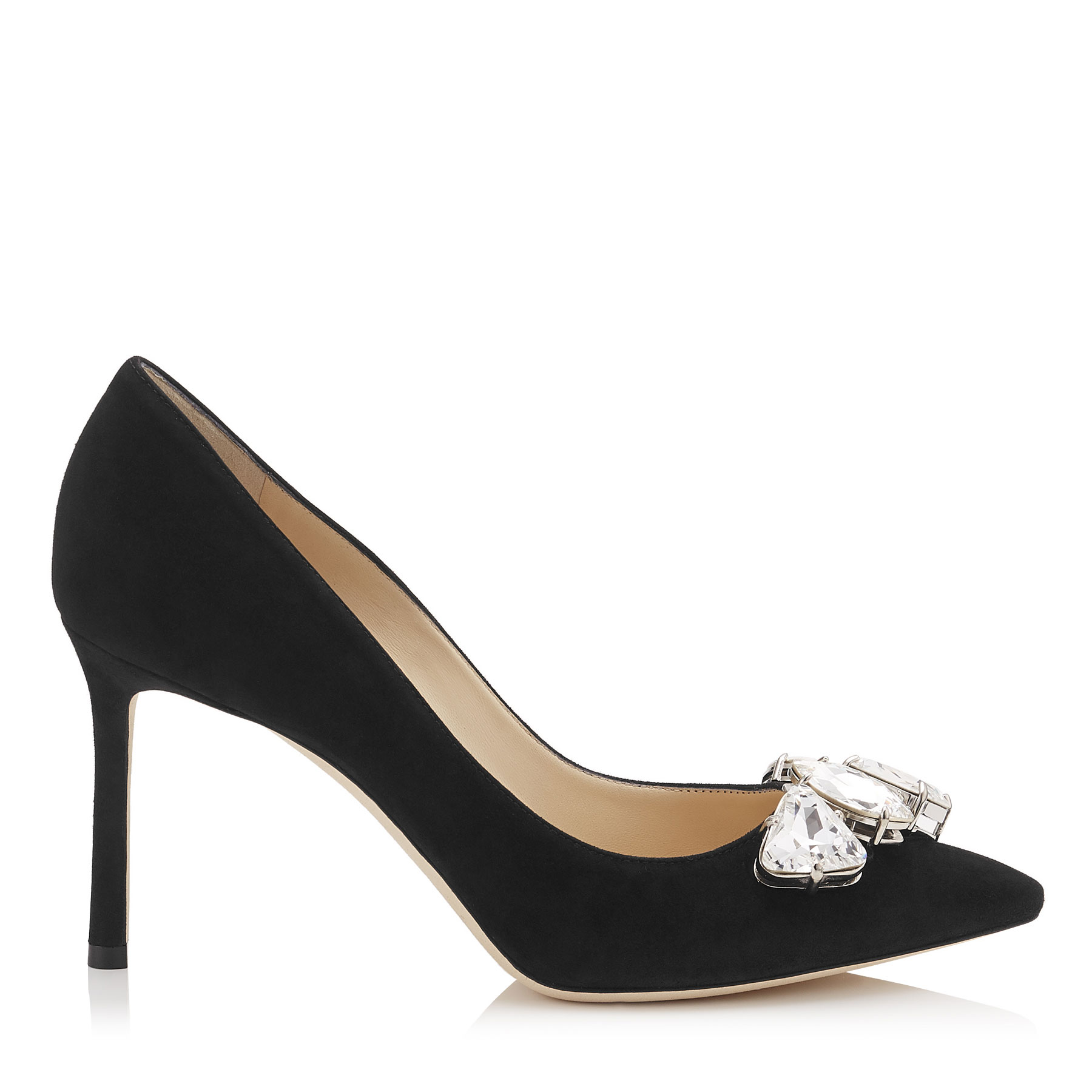 MARVEL 85 Black Suede Pointy Toe Pumps with Crystal Piece