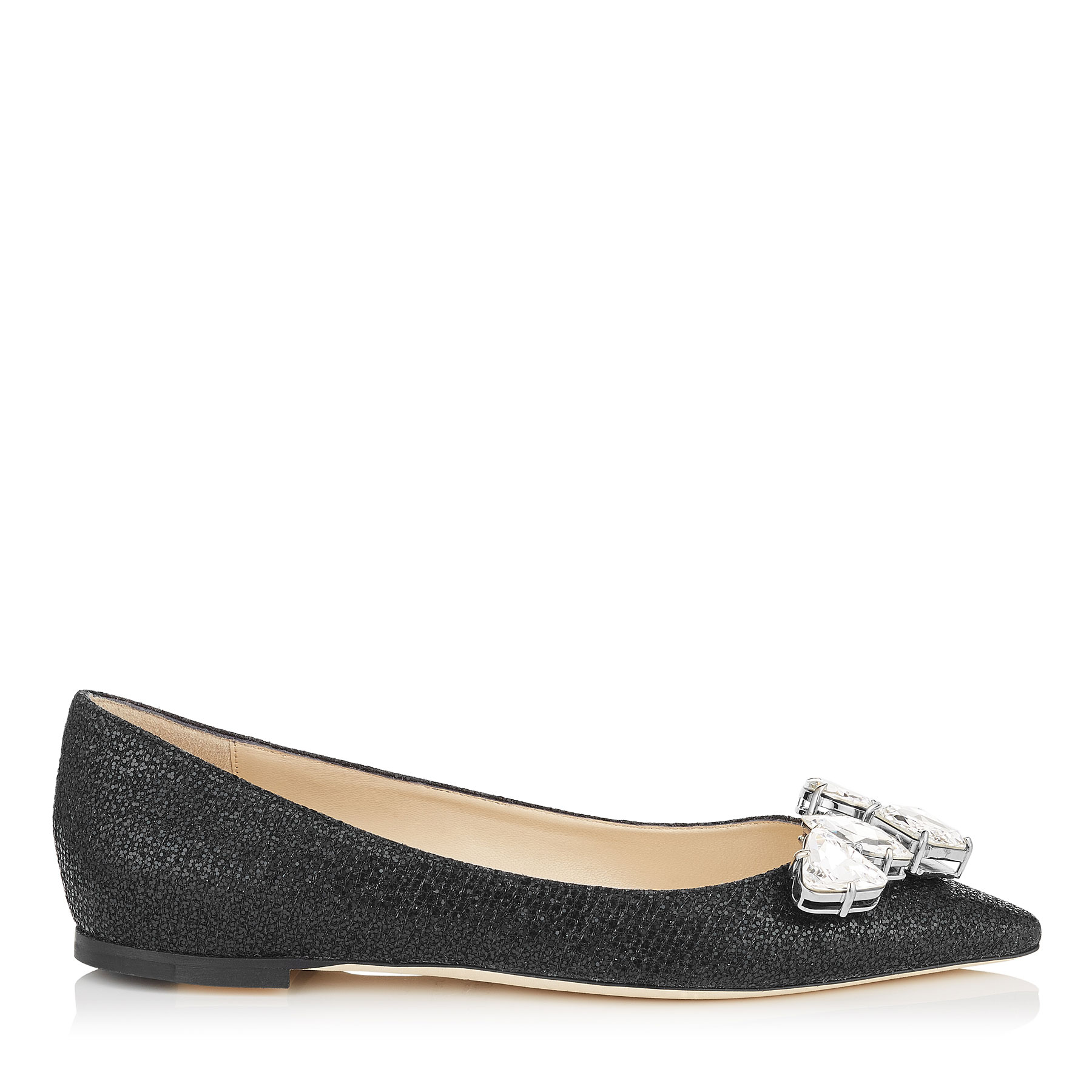 MARVEL FLAT Black Glitter Fabric Pointy Toe Flats with Crystal Piece