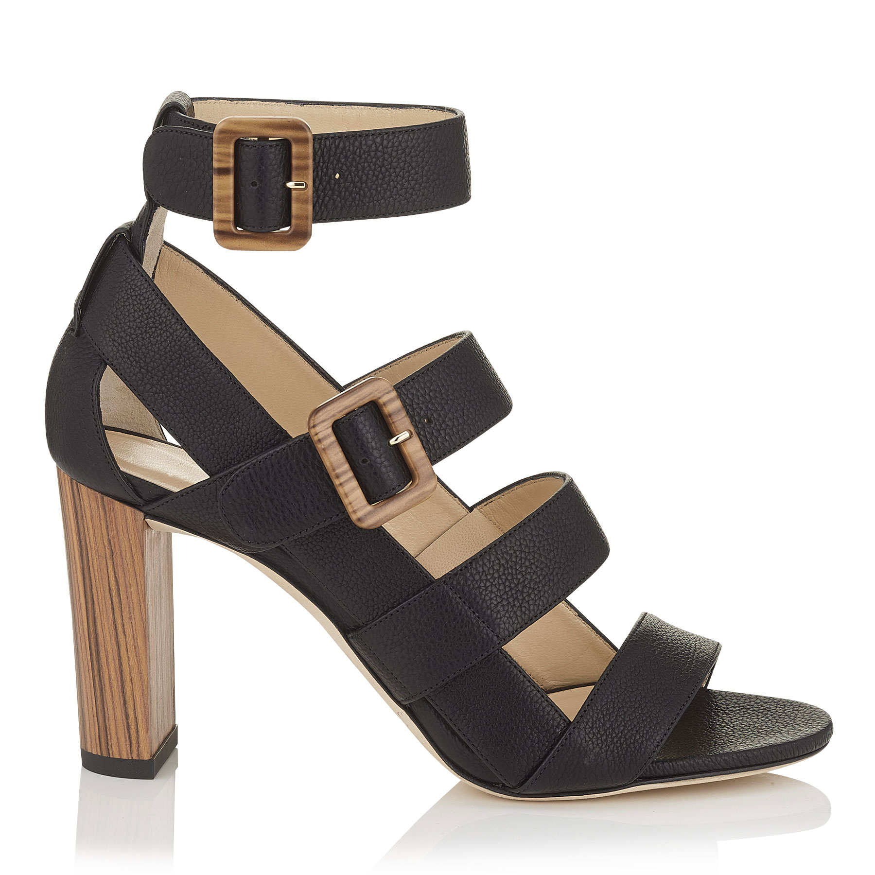 MAYA 85 Black Grainy Leather and Wood Sandals