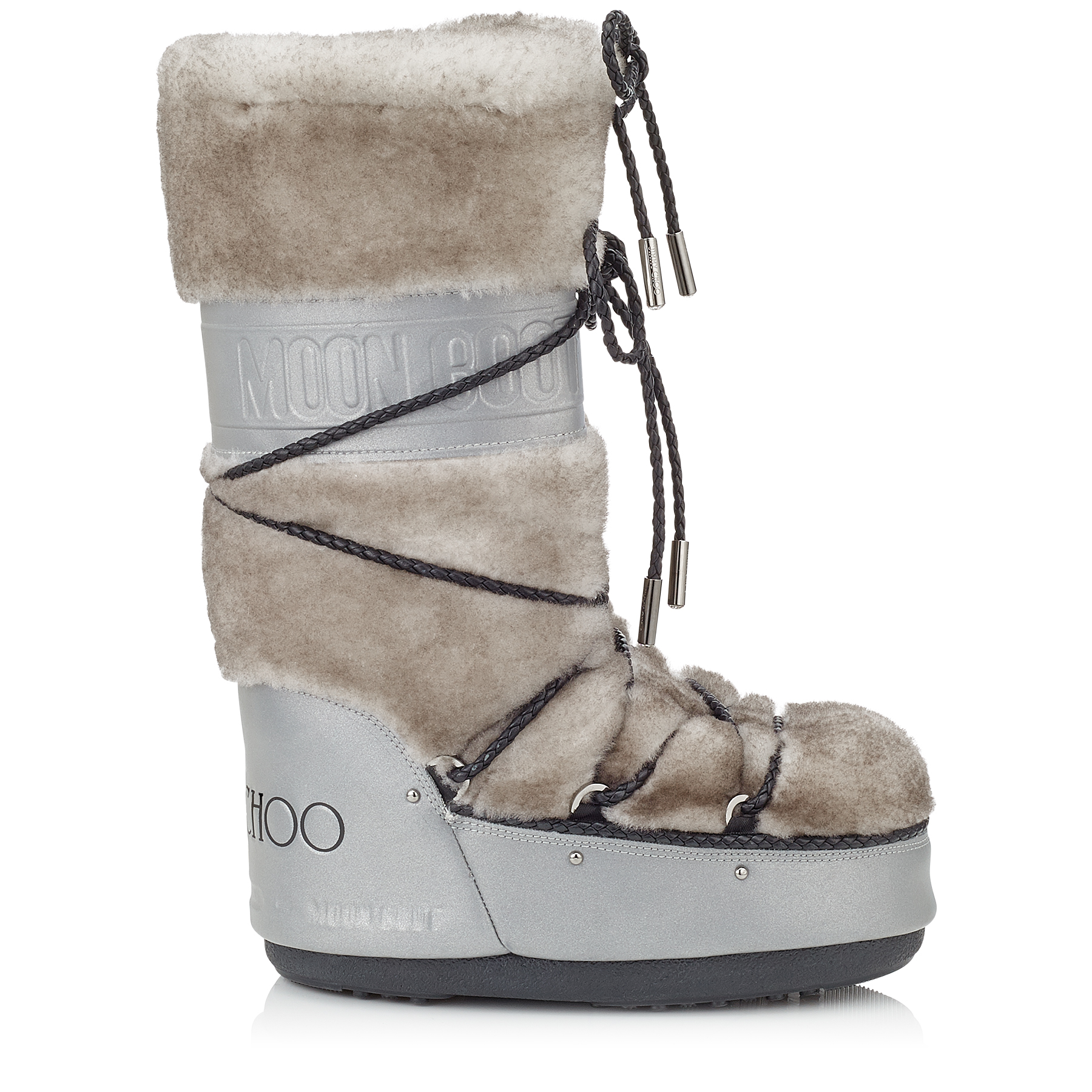 MB CLASSIC Silver Reflective Fabric and White Shearling Moon Boot®