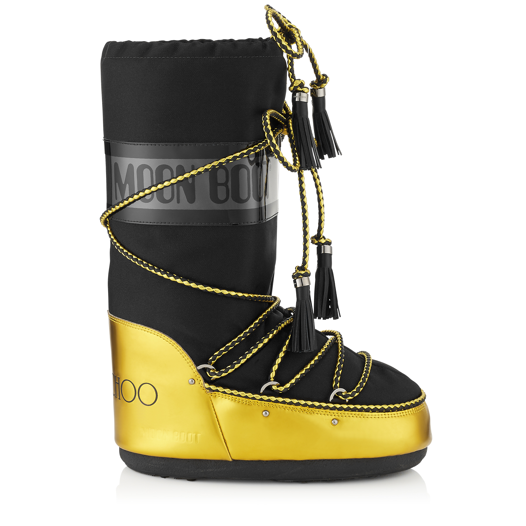 MB CLASSIC Acid Yellow Mirror Leather and Black Shiny Fabric Moon Boot®