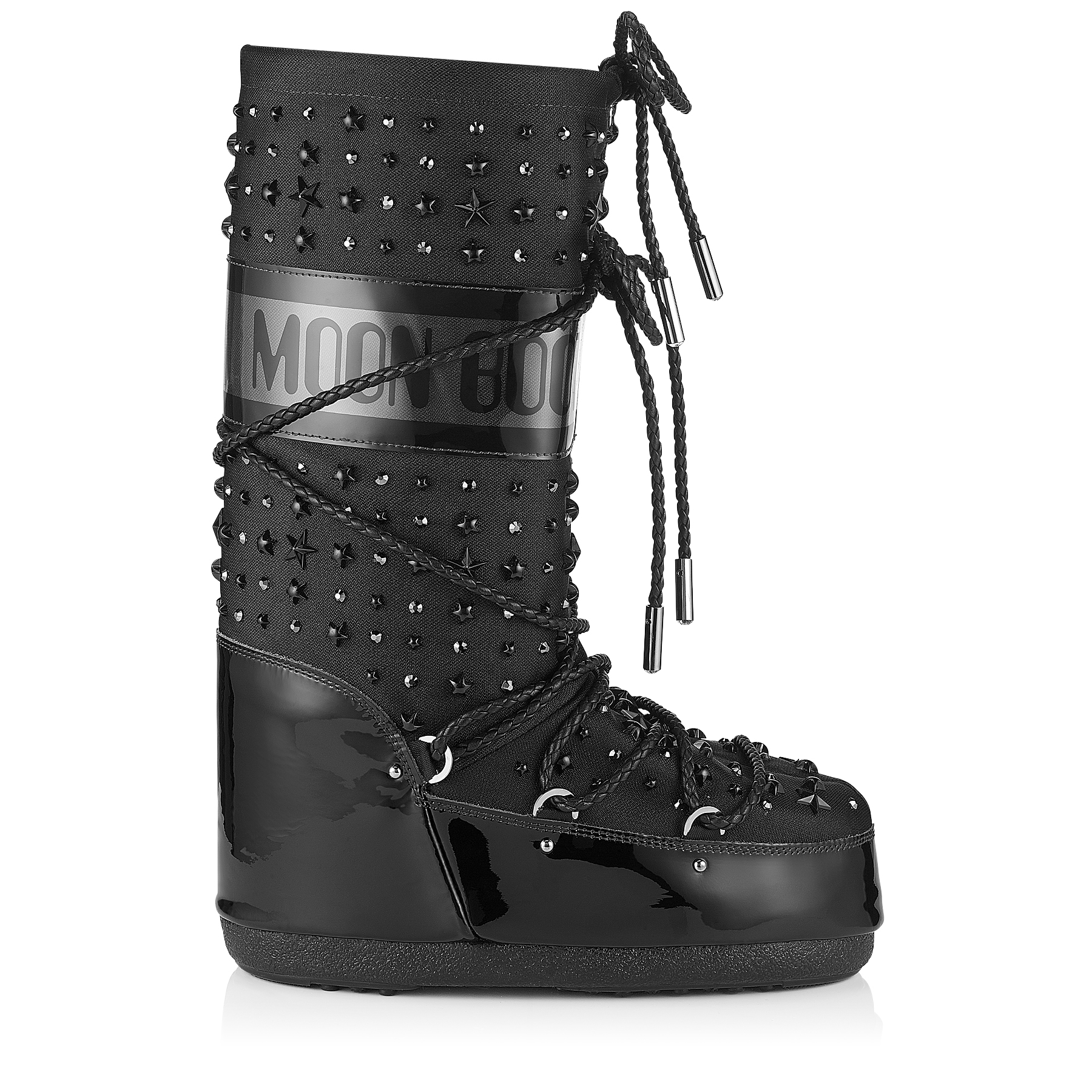 MB CLASSIC Black Patent and Fabric Moon Boot® with Crystals and Stars Embellishment