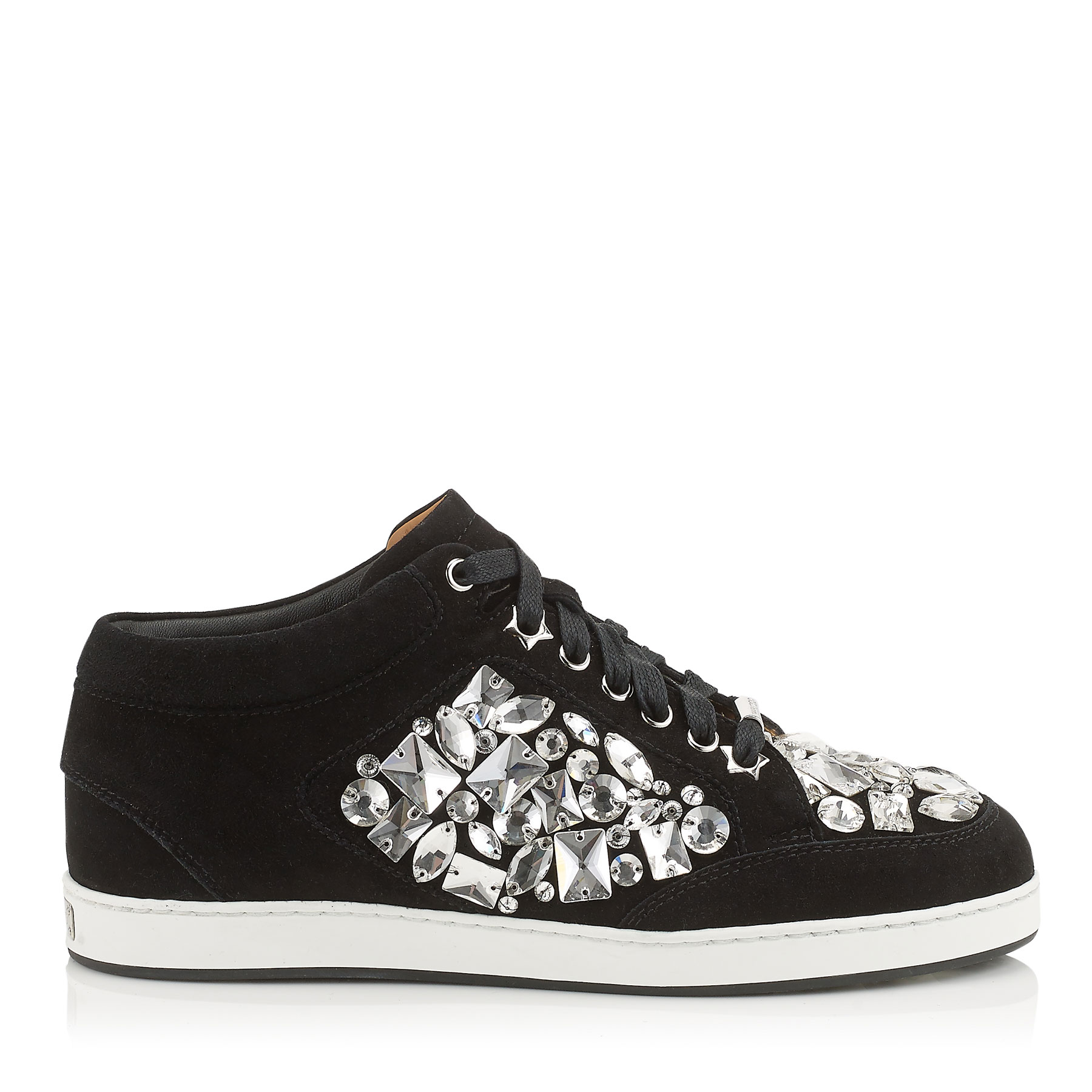 MIAMI Black Suede with Crystals Low Top Trainers
