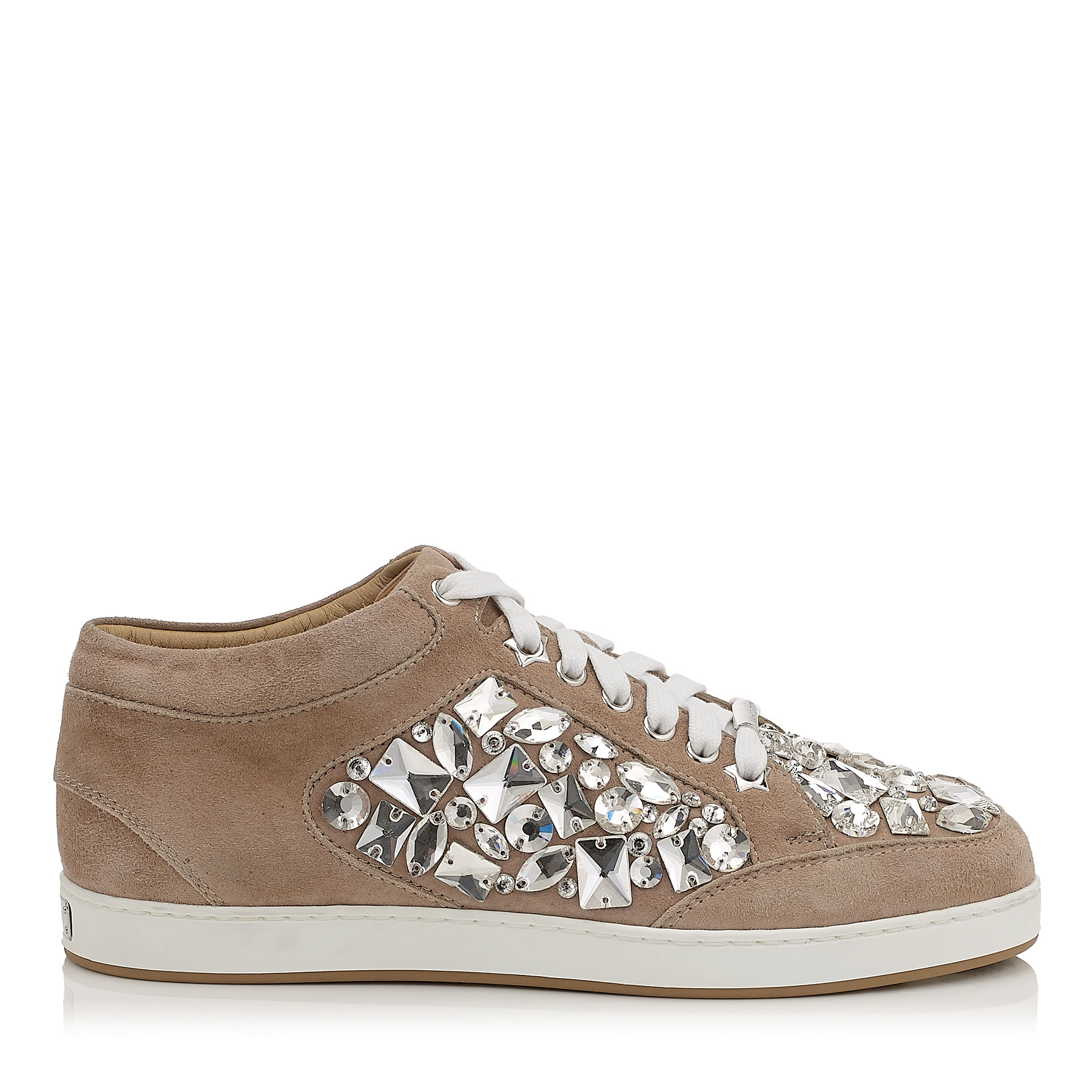 MIAMI Nude Suede with Crystals Low Top Trainers