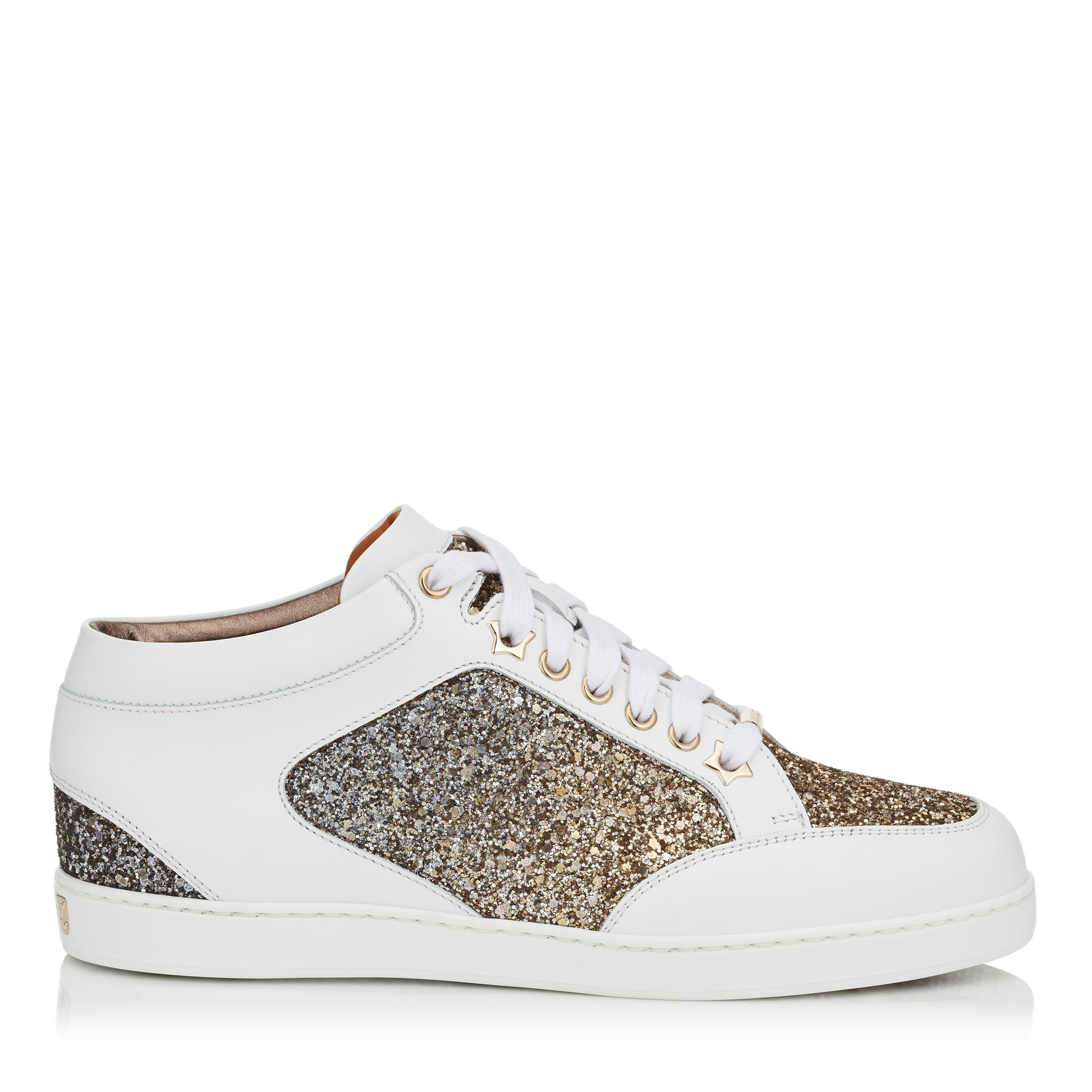 MIAMI Antique Gold and Anthracite Mix Coarse Glitter Dégradé Sneakers