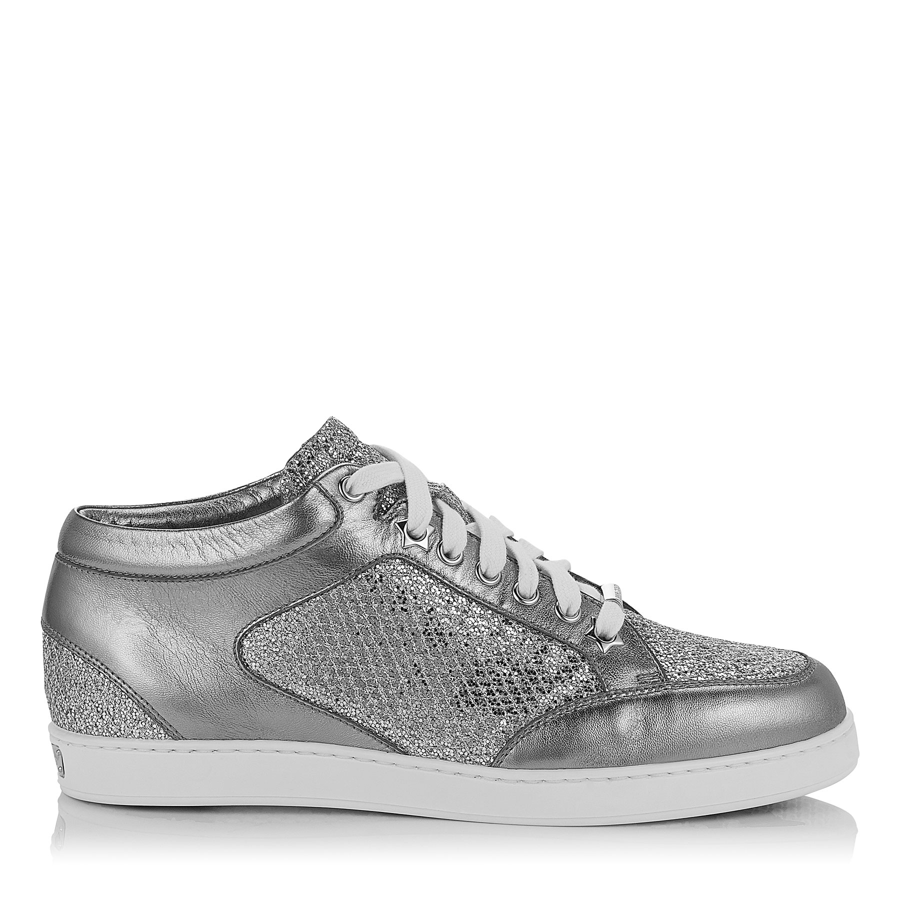 9889f098eb4c MIAMI Silver Glitter Fabric Metallic Nappa Low Top Trainers by Jimmy Choo