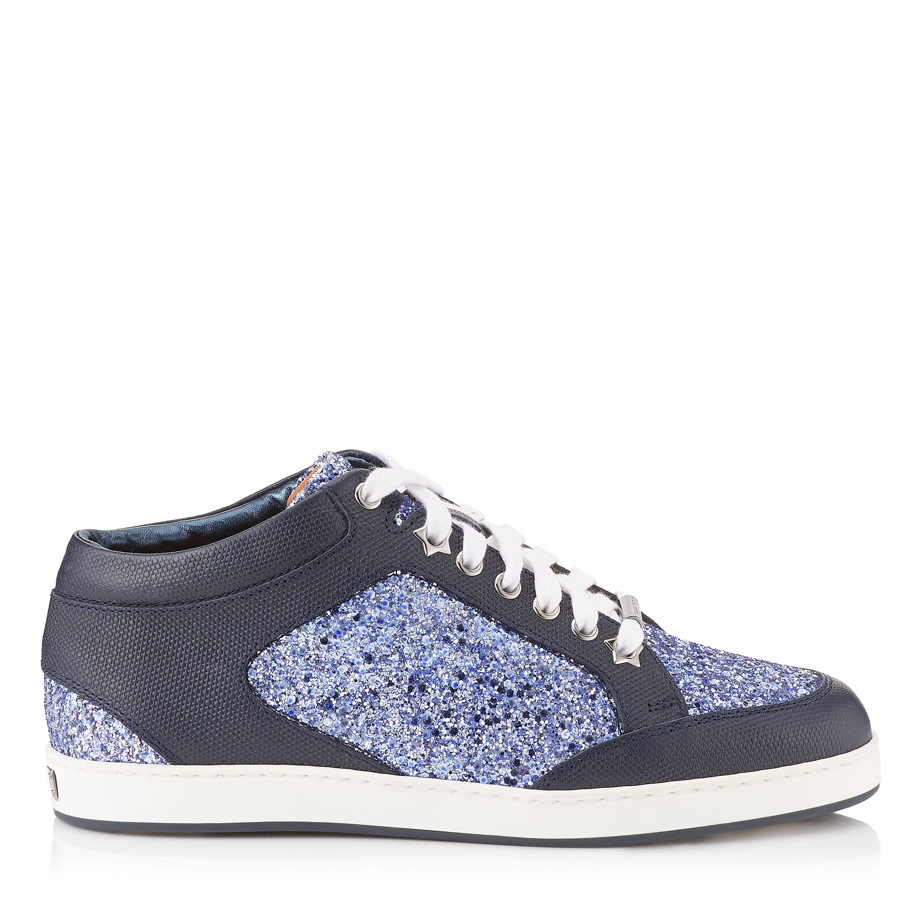MIAMI Cobalt Shadow Coarse Glitter Fabric Low Top Trainers