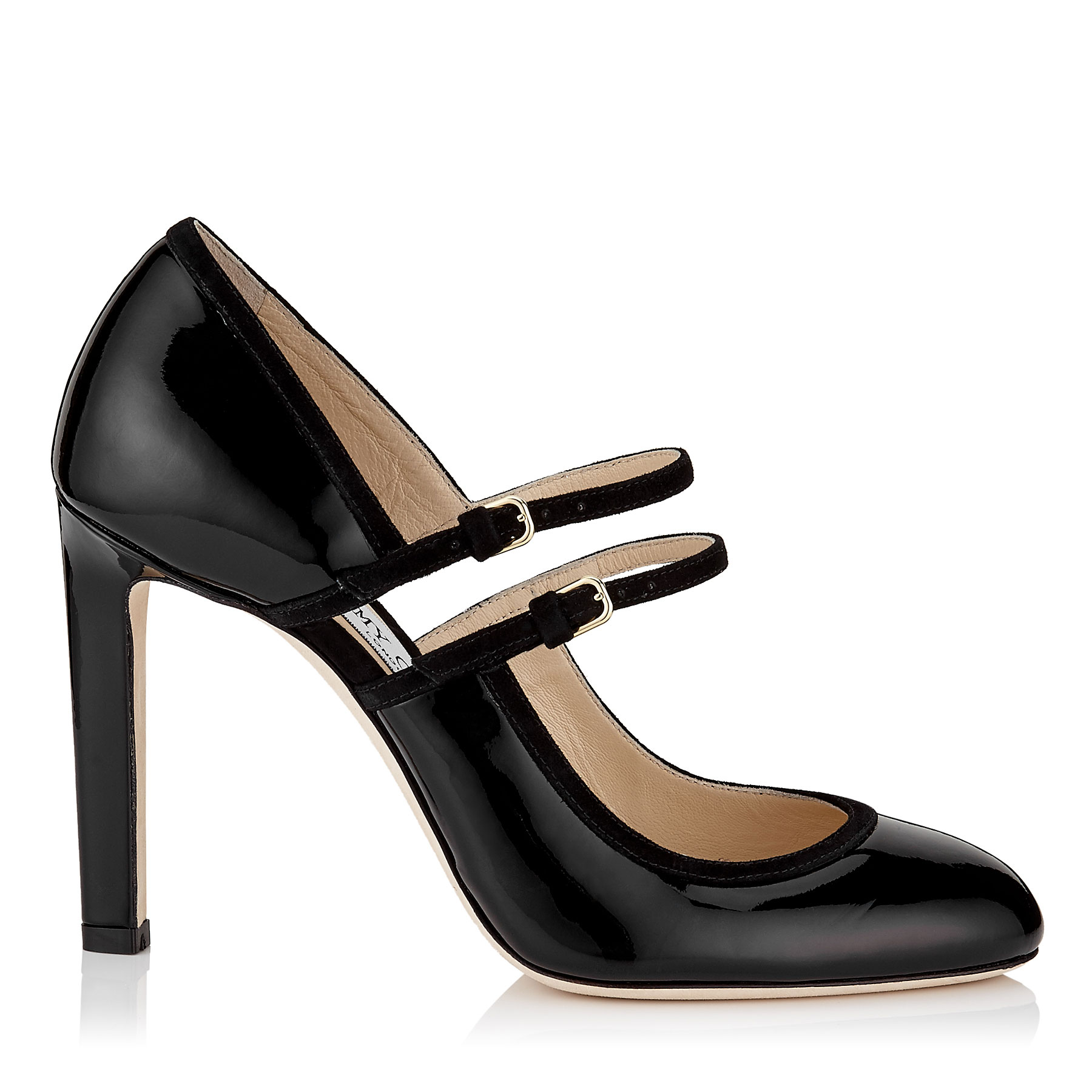 MICHA 100 Black Patent and Suede Round Toe Pumps