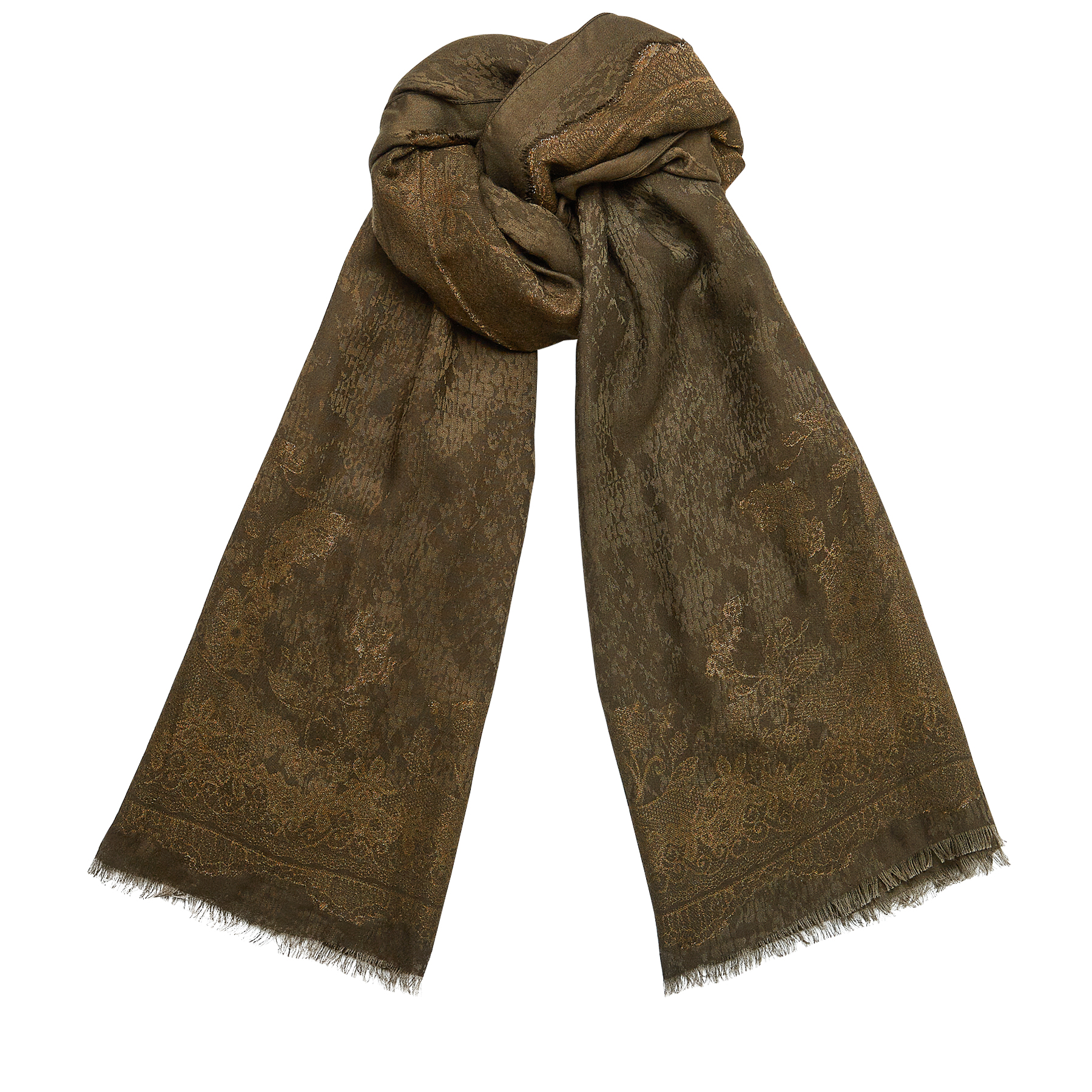 MILA Military Yellow Woven Jacquard Scarf