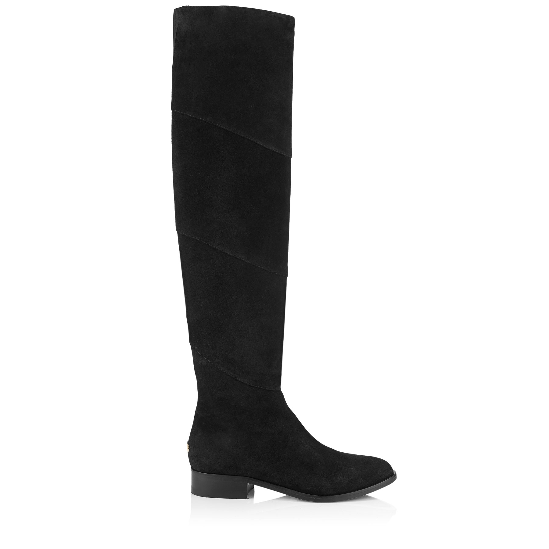 MILLER FLAT Black Suede Over-the-Knee Boots