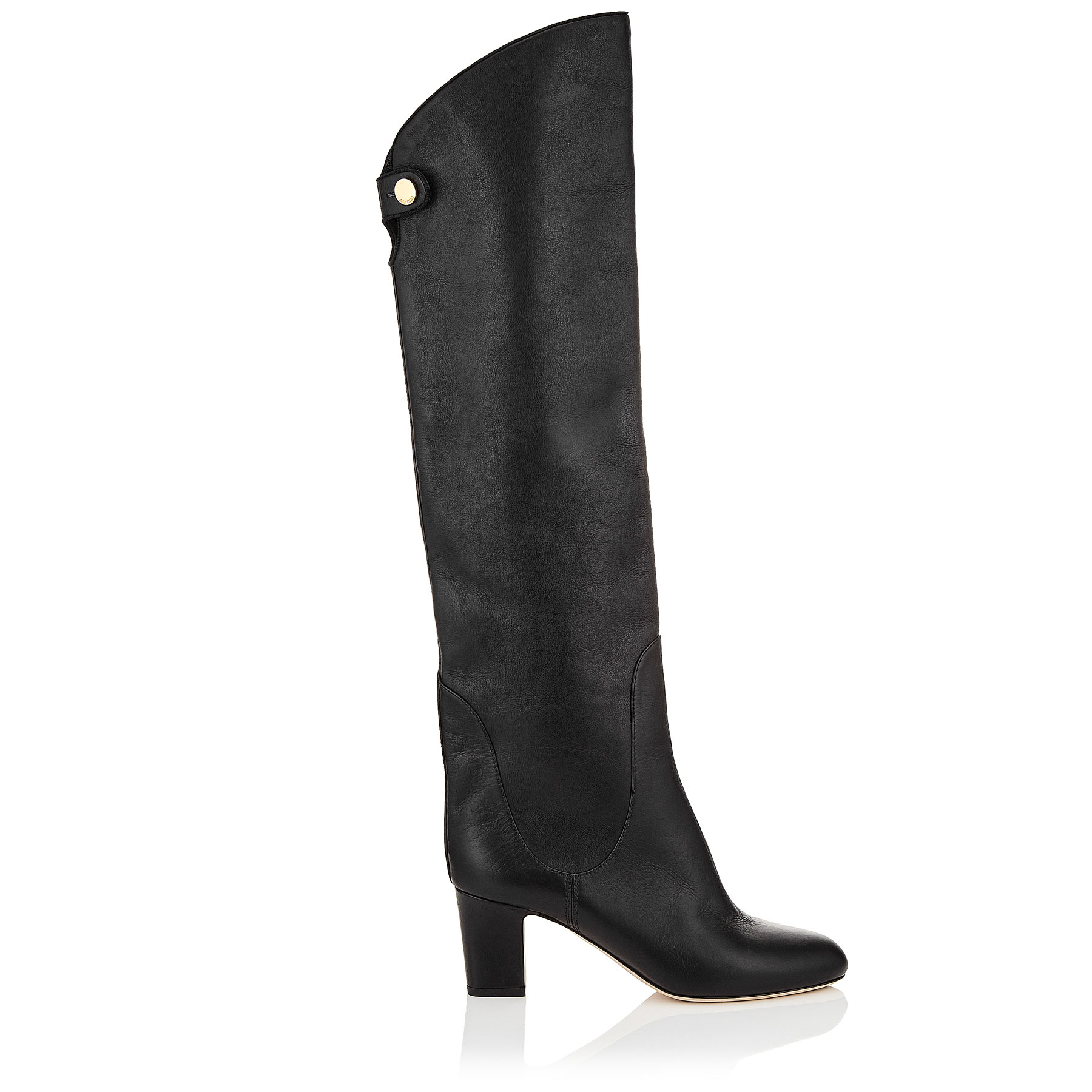 MINERVA 65 Black Smooth Leather Pull On Boots by Jimmy Choo