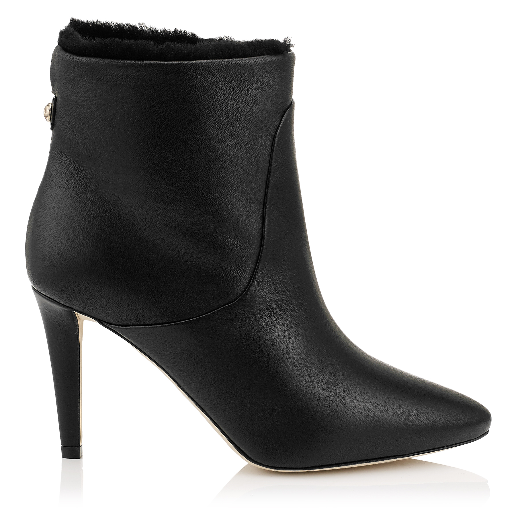 MISSION 85 Black Nappa Leather and Shearling Lined Ankle Boots