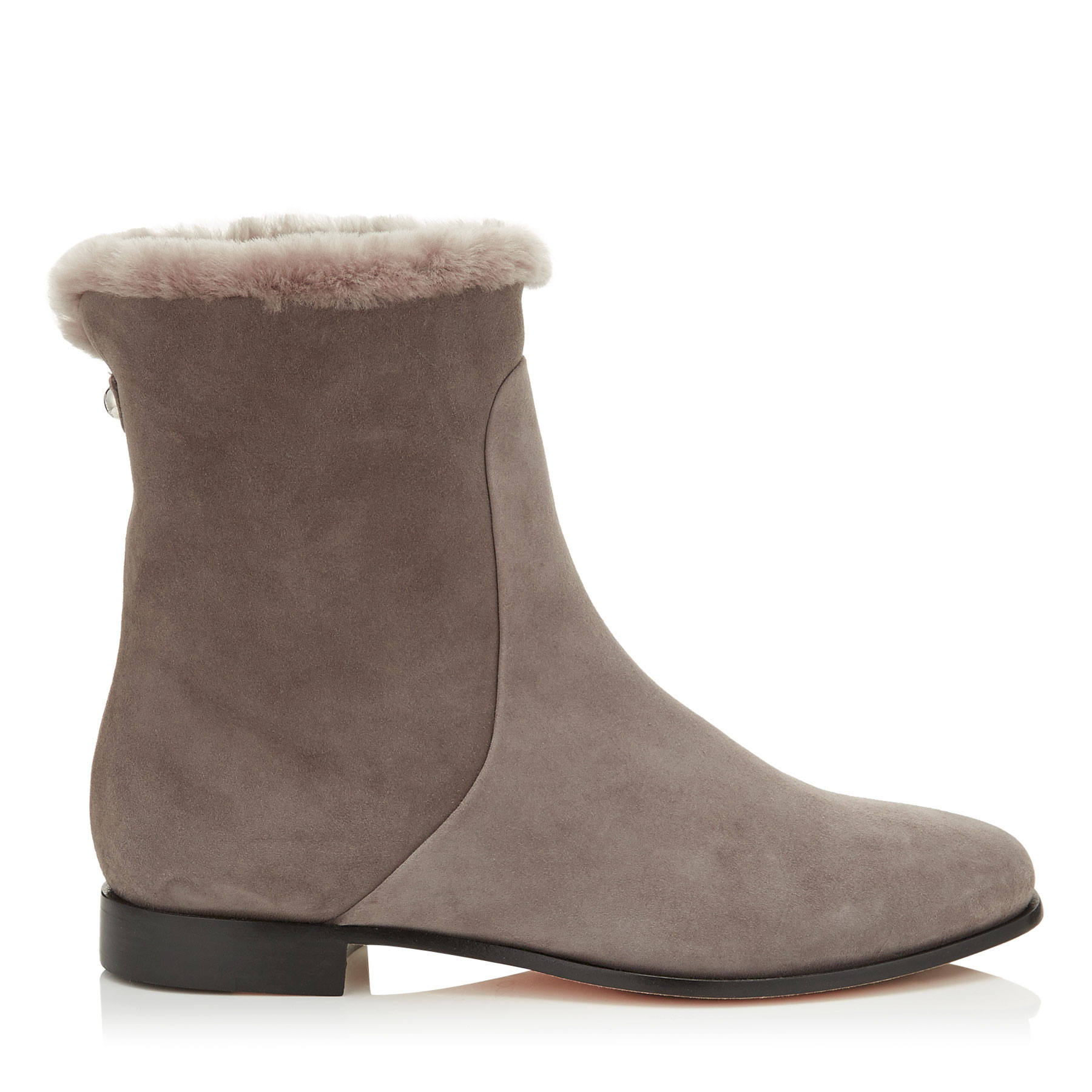 MISSION FLAT Taupe Grey Suede and Shearling Lined Ankle Boots