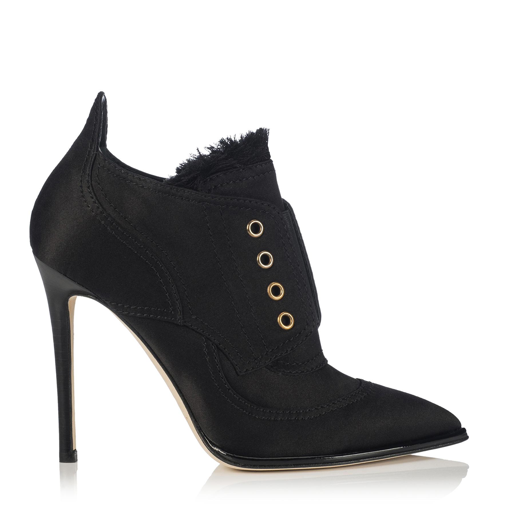 MITSU 110 Black Frayed Satin Mix and Elastic Ankle Booties