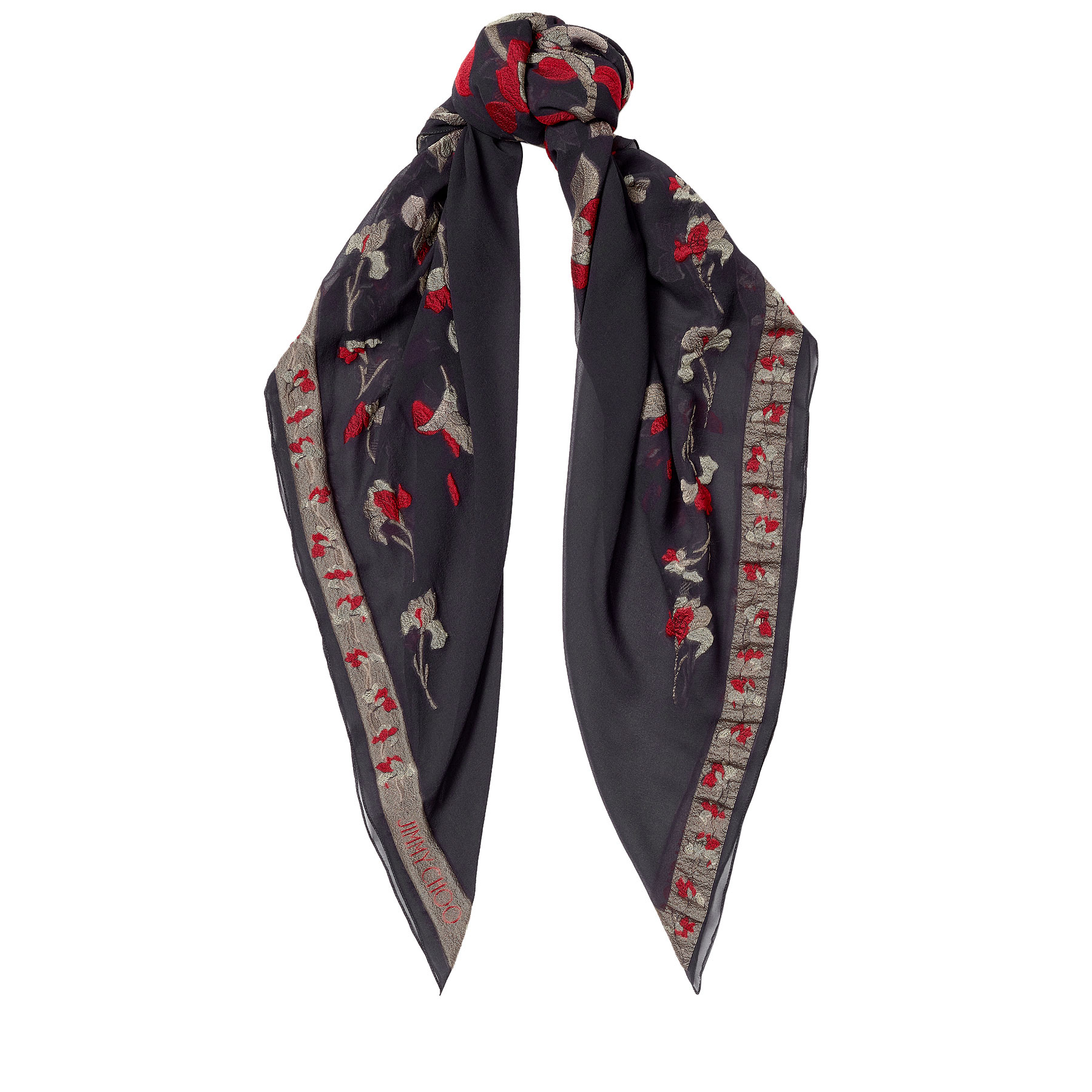MOLY Anthracite and Nude Printed Pashmina Shawl