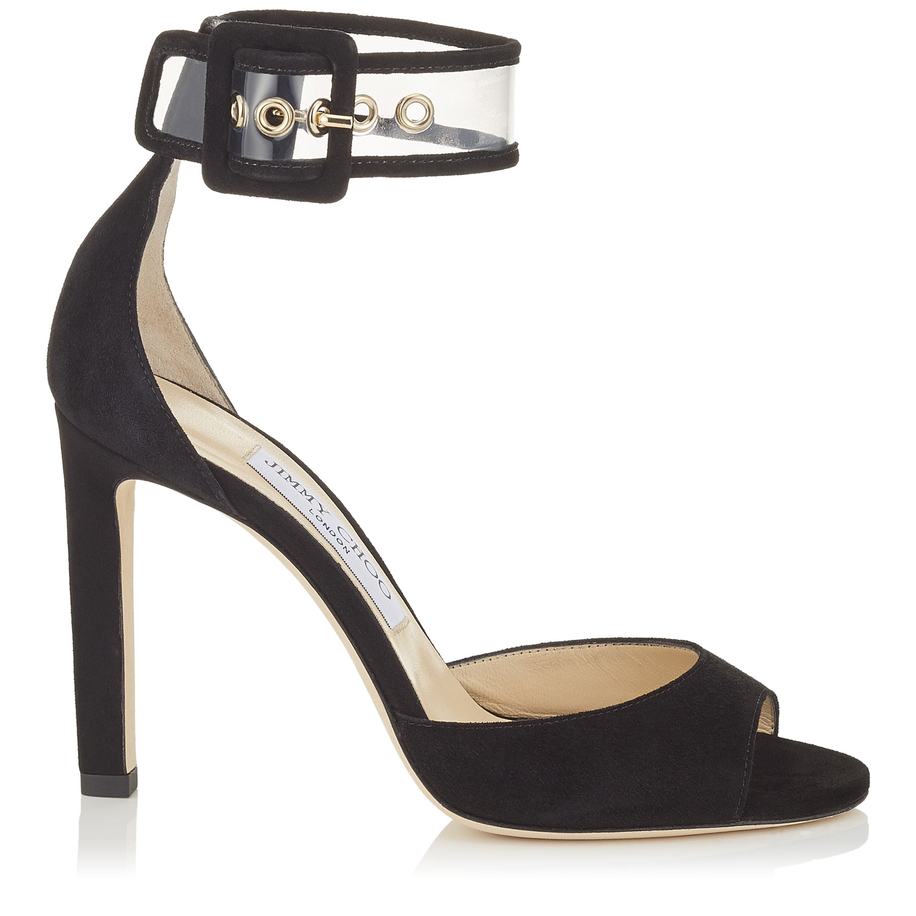 MOSCOW 100 Black Suede with Plexi Ankle Strap Peep Toe Sandals