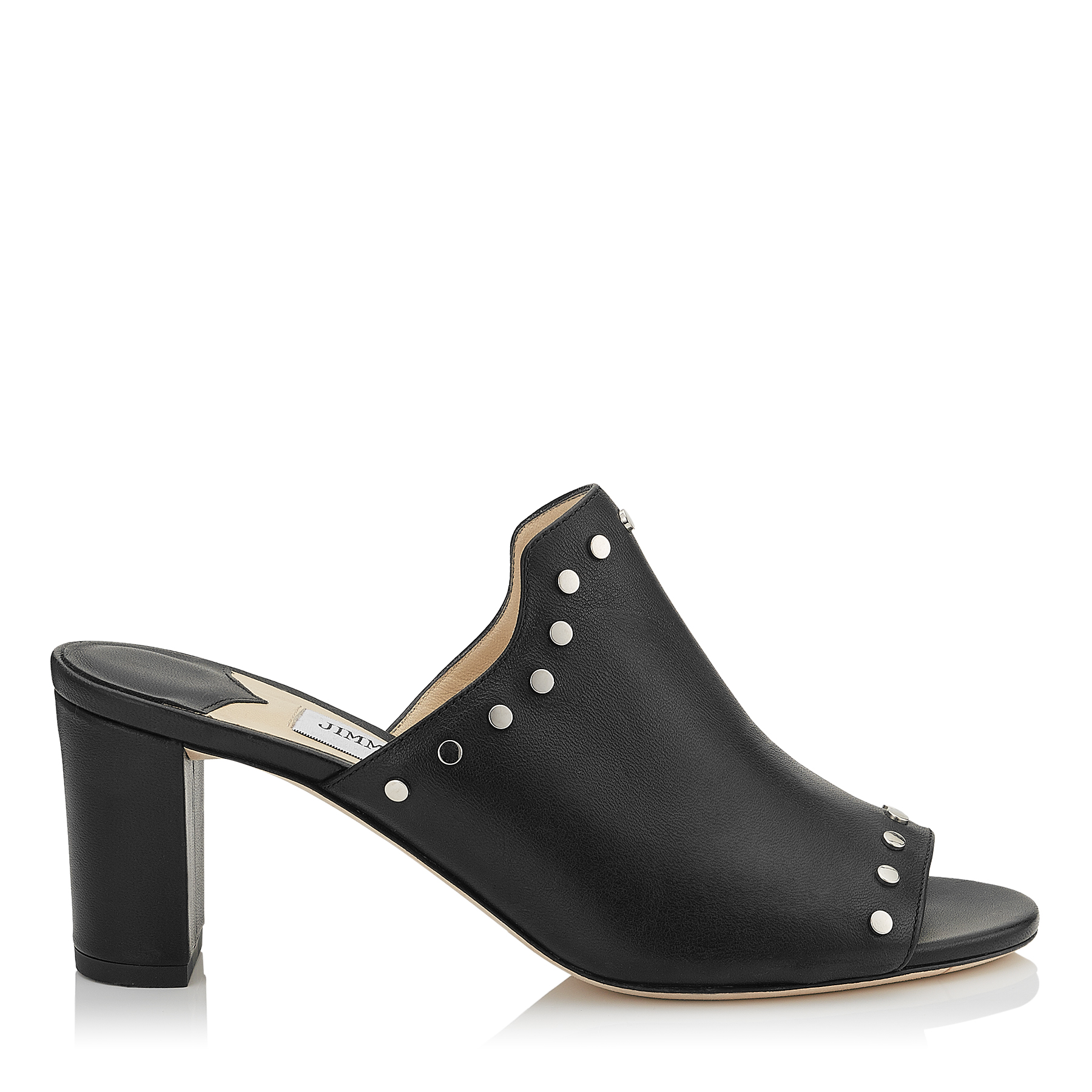 MYLA 65 Black Nappa Leather Mules with Silver Studs