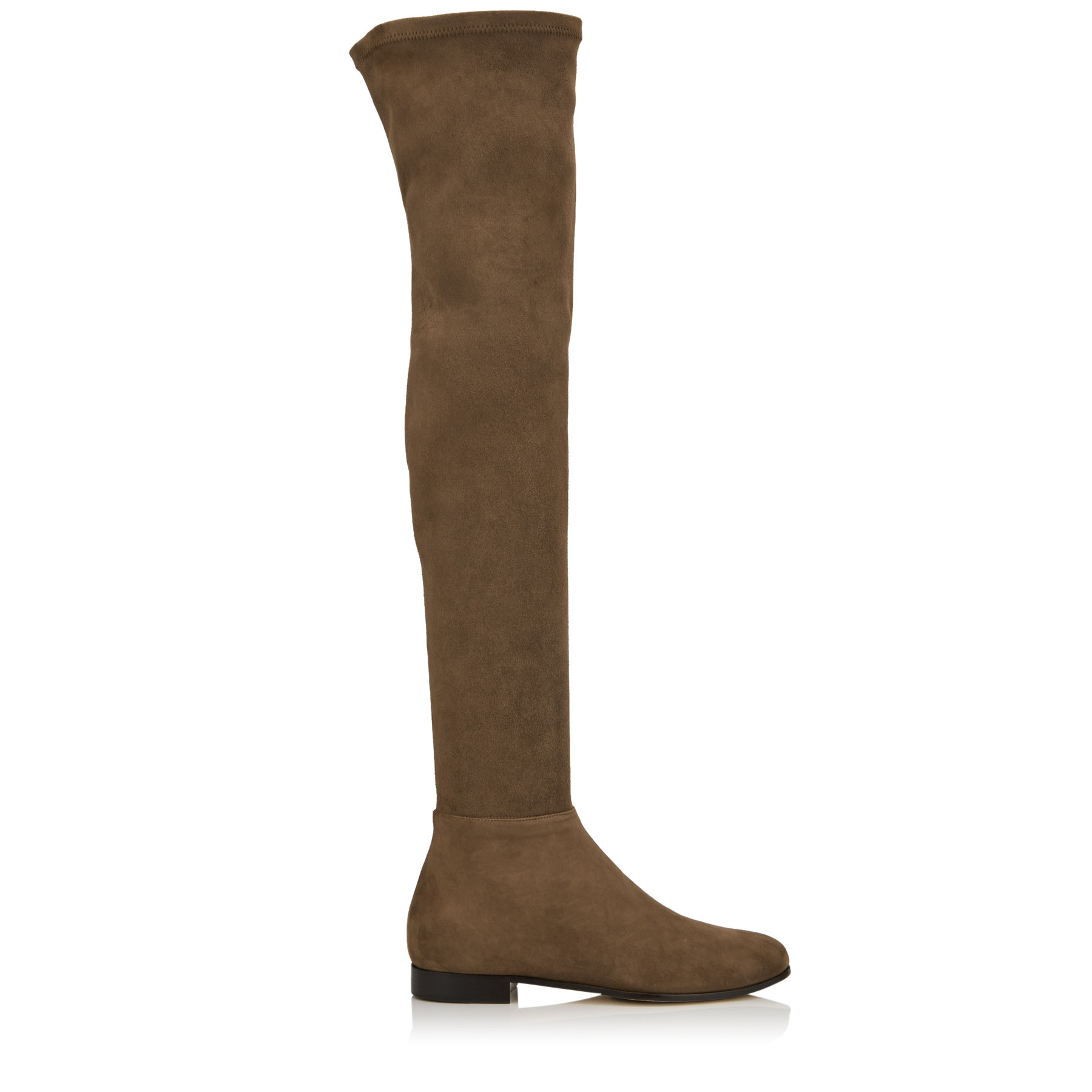 MYREN FLAT Khaki Brown Stretch Suede Over the Knee Boots