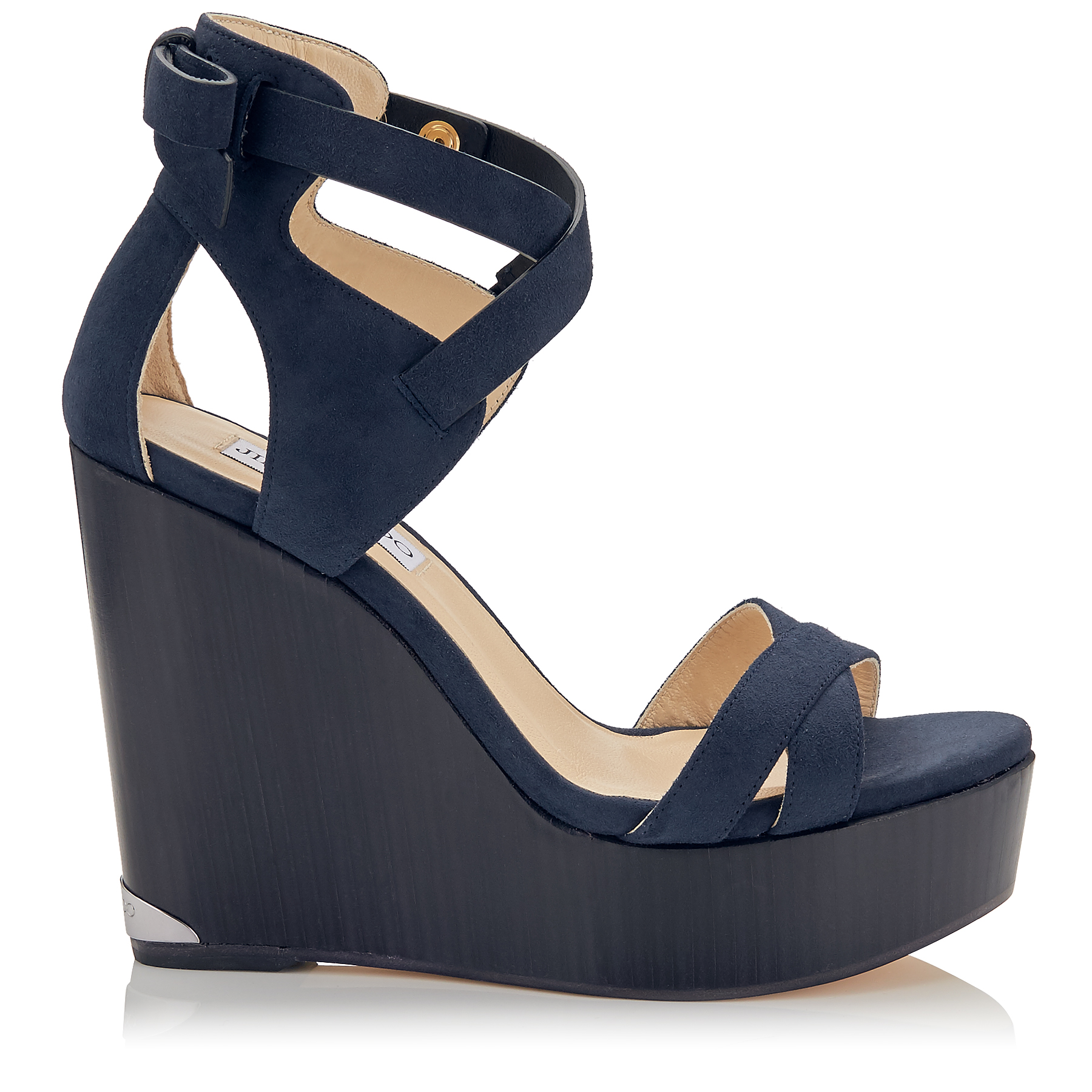 NAOMI 120 Navy Suede Cuoio Covered Wedges
