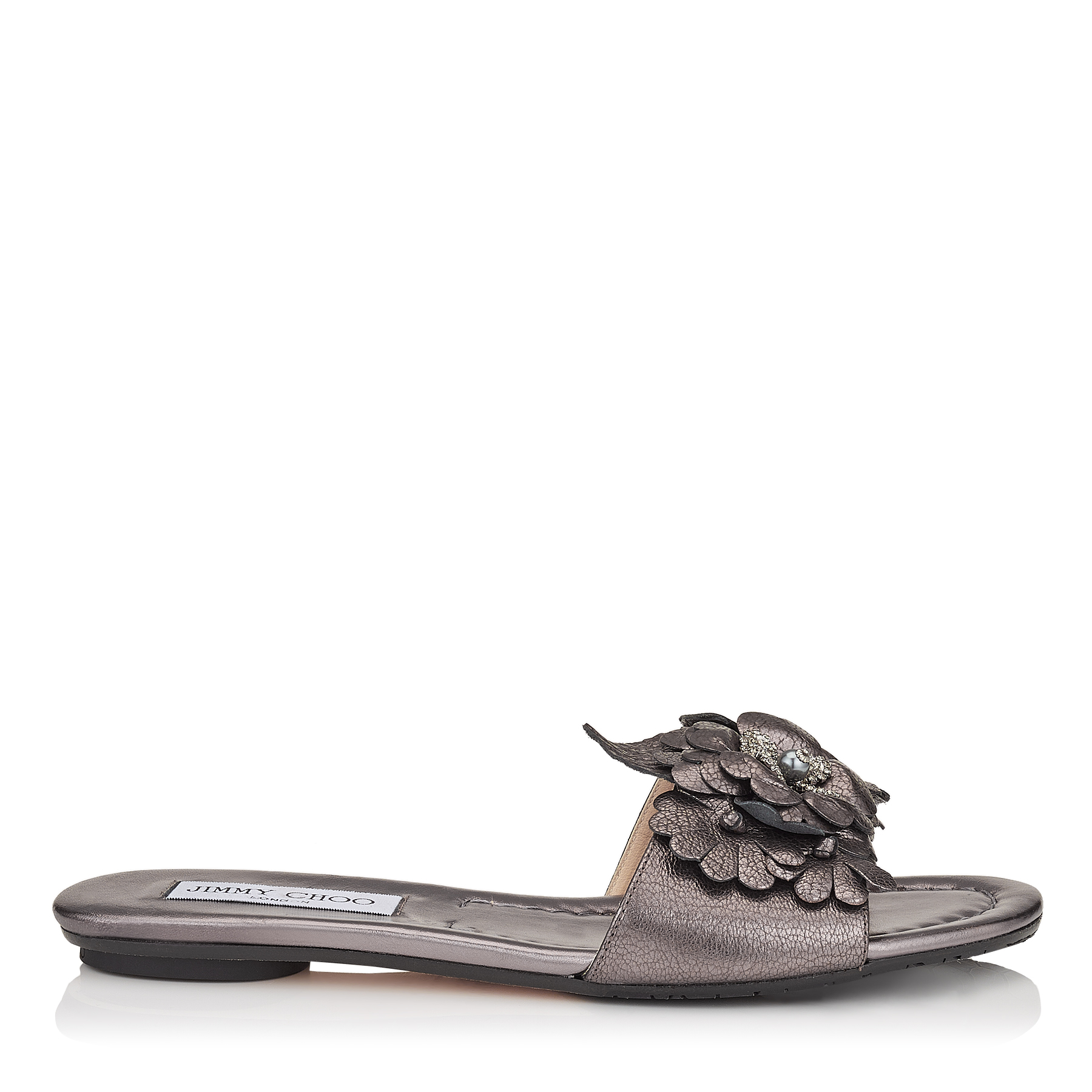 NEAVE FLAT Light Mocha Metallic Softened Leather Slides with Floral Appliqué