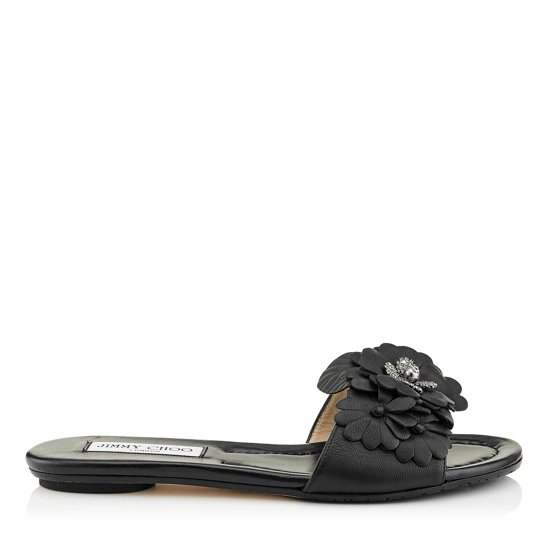NEAVE FLAT Black Nappa Leather Slides with Floral Appliqué