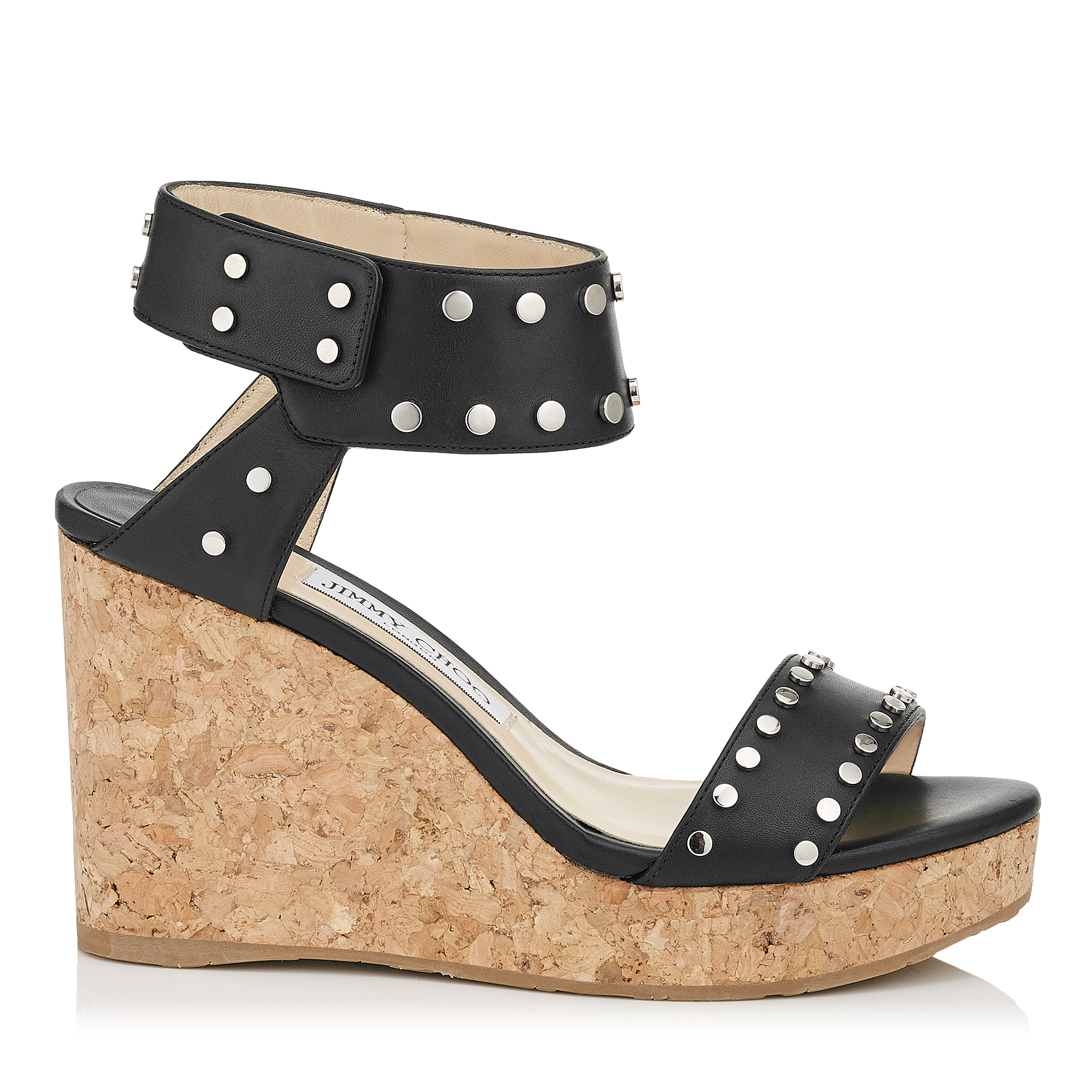 NELLY 100 Black Shiny Leather Wedges with Silver Studs by Jimmy Choo