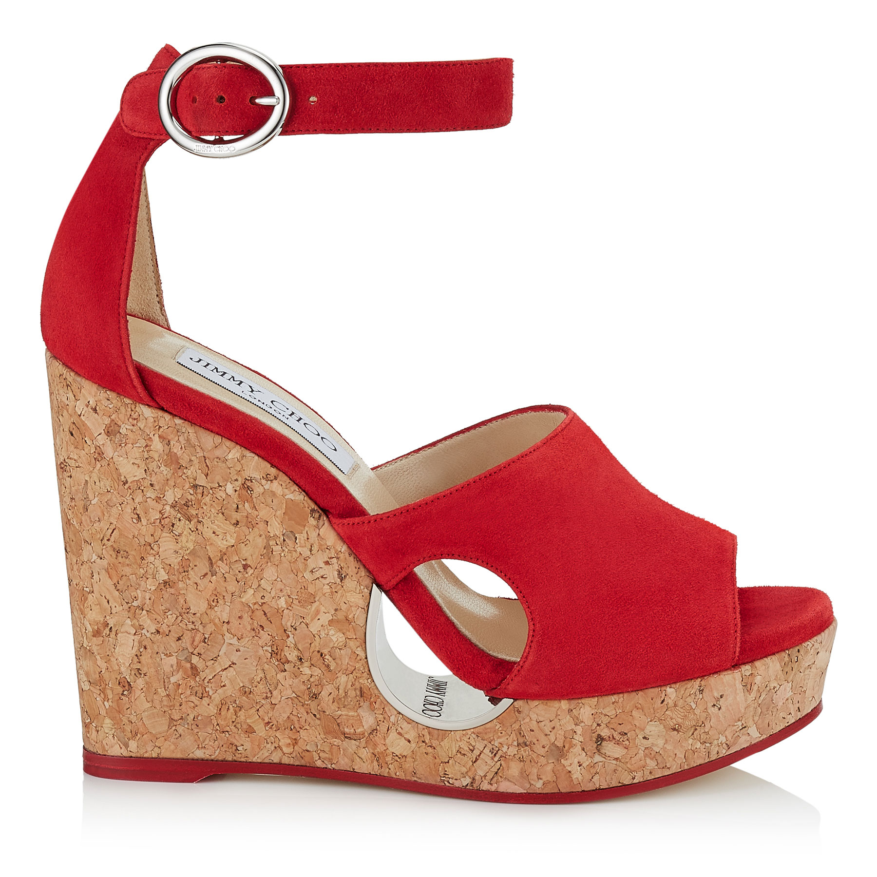 NEYO 120 Red Suede Cork Wedges with Cut-out