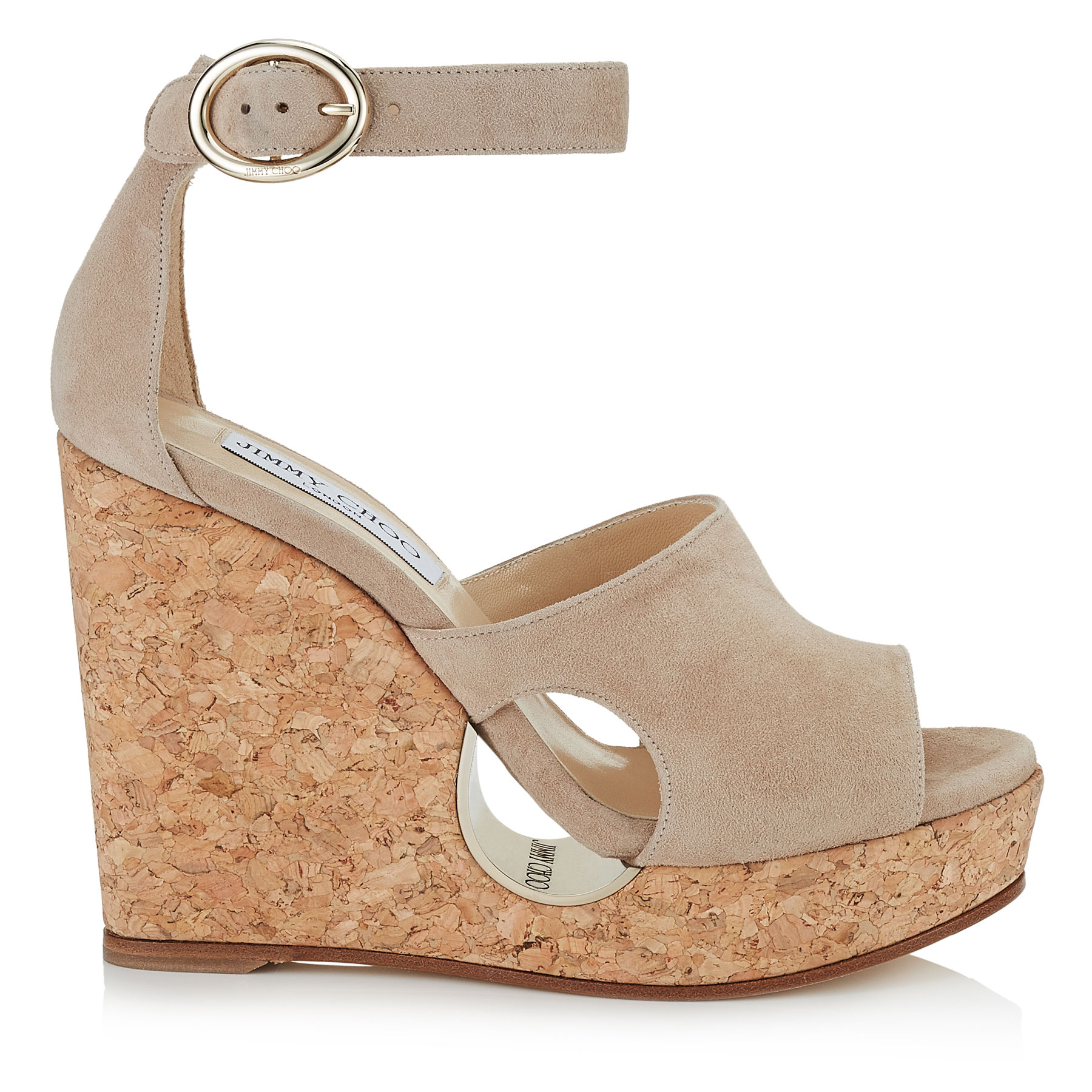 NEYO 120 Nude Suede Cork Wedges with Cut-out