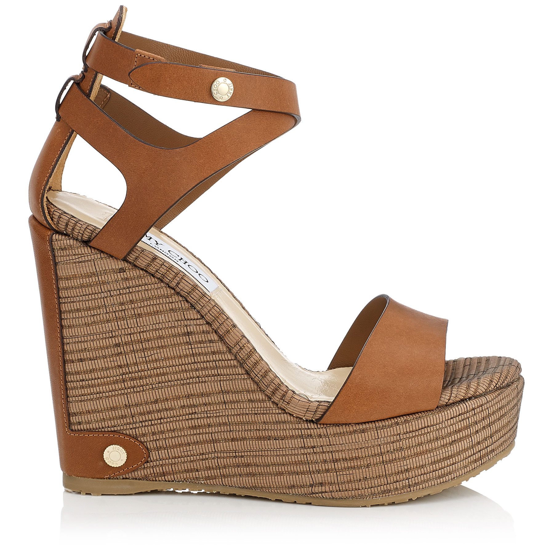NOELLE 120 Canyon Leather and Striped Mesh Cork Wedges