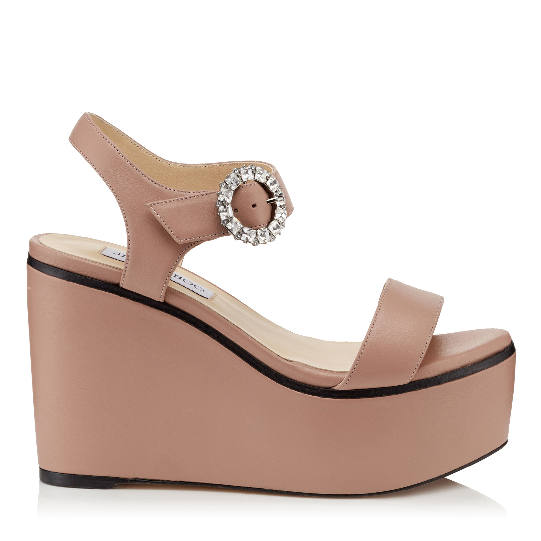 NYLAH 100 Ballet Pink Nappa Leather Wedge Sandals with Crystal Buckle by Jimmy Choo