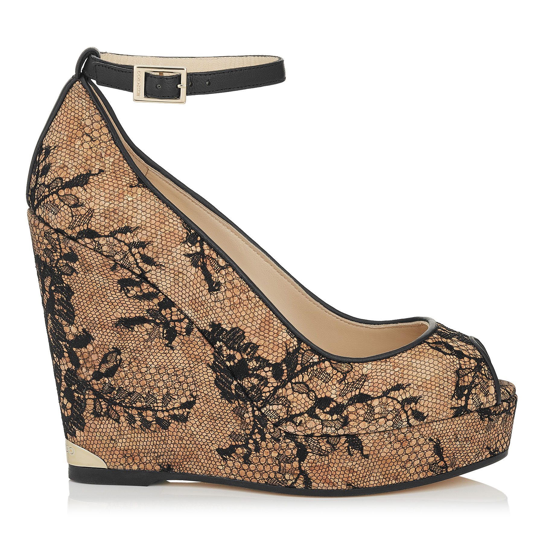 PACIFIC 120 Black Lace Covered Cork Wedges