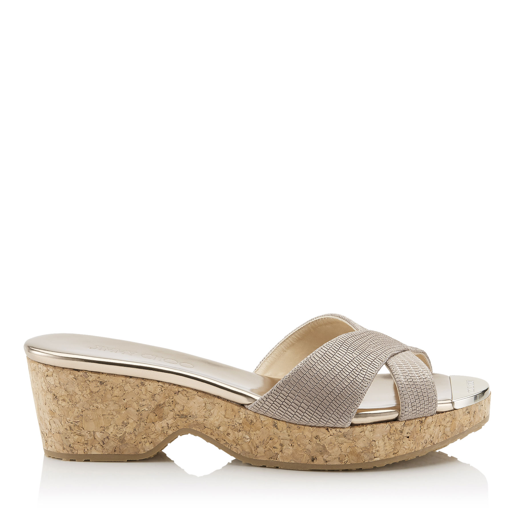 PANNA Nude Glitter Printed Leather Cork Wedges