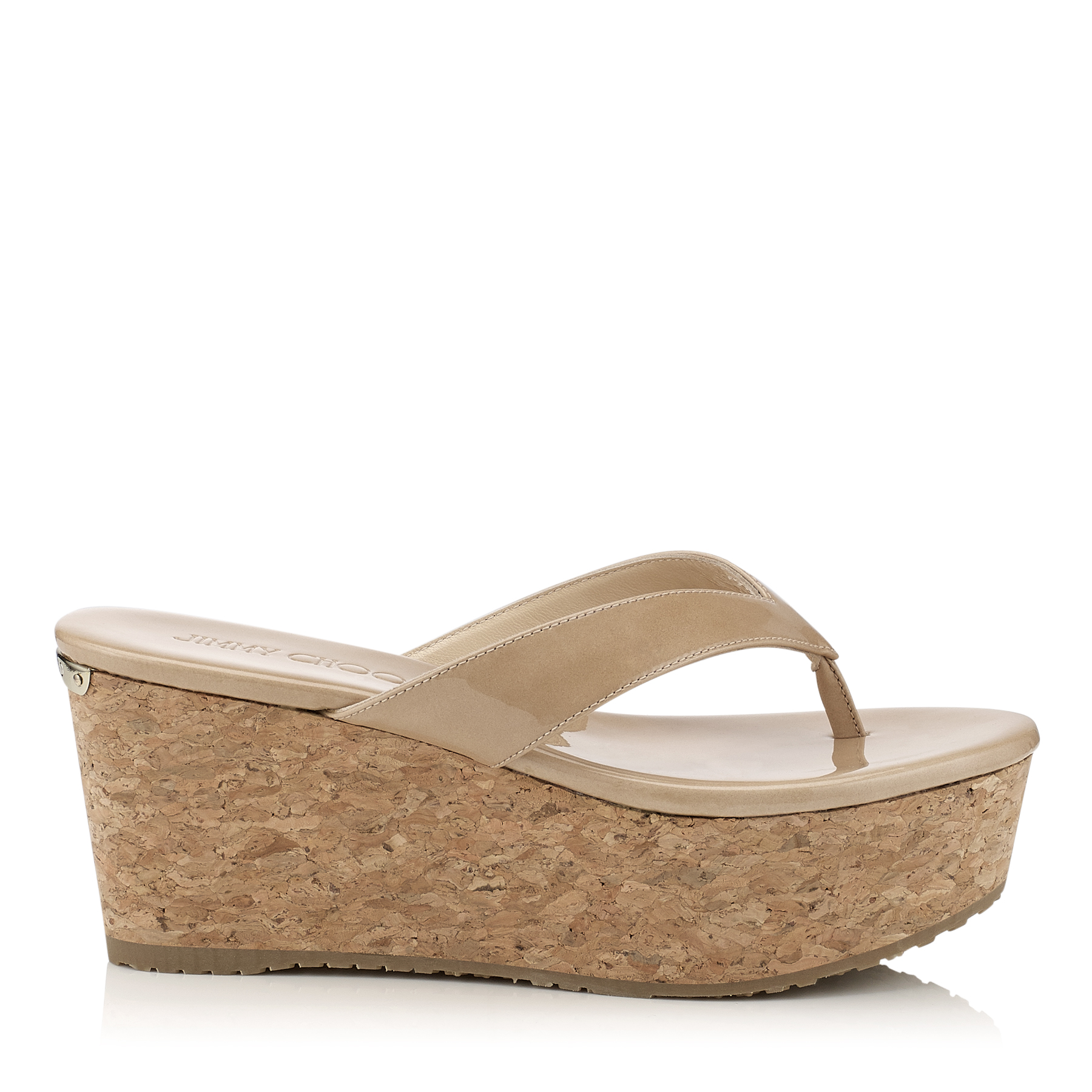 PAQUE 70 Nude Patent Leather Cork Wedges