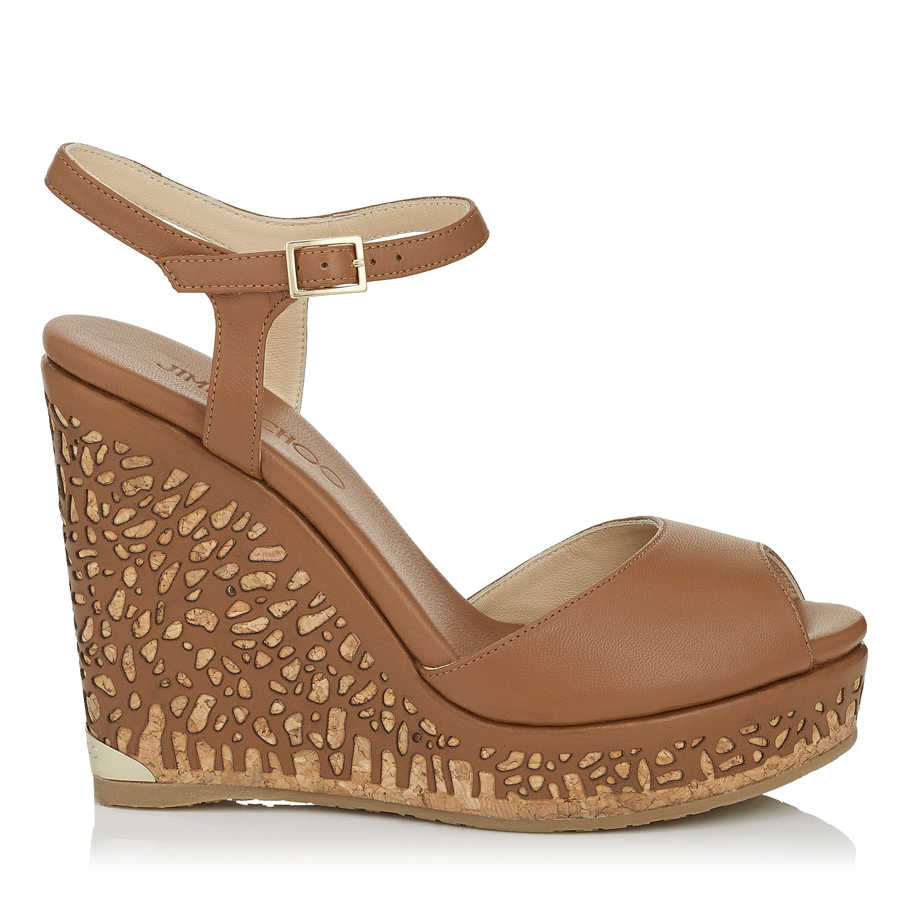 PERLA 120 Canyon Leather Laser Perforated Cork Wedges