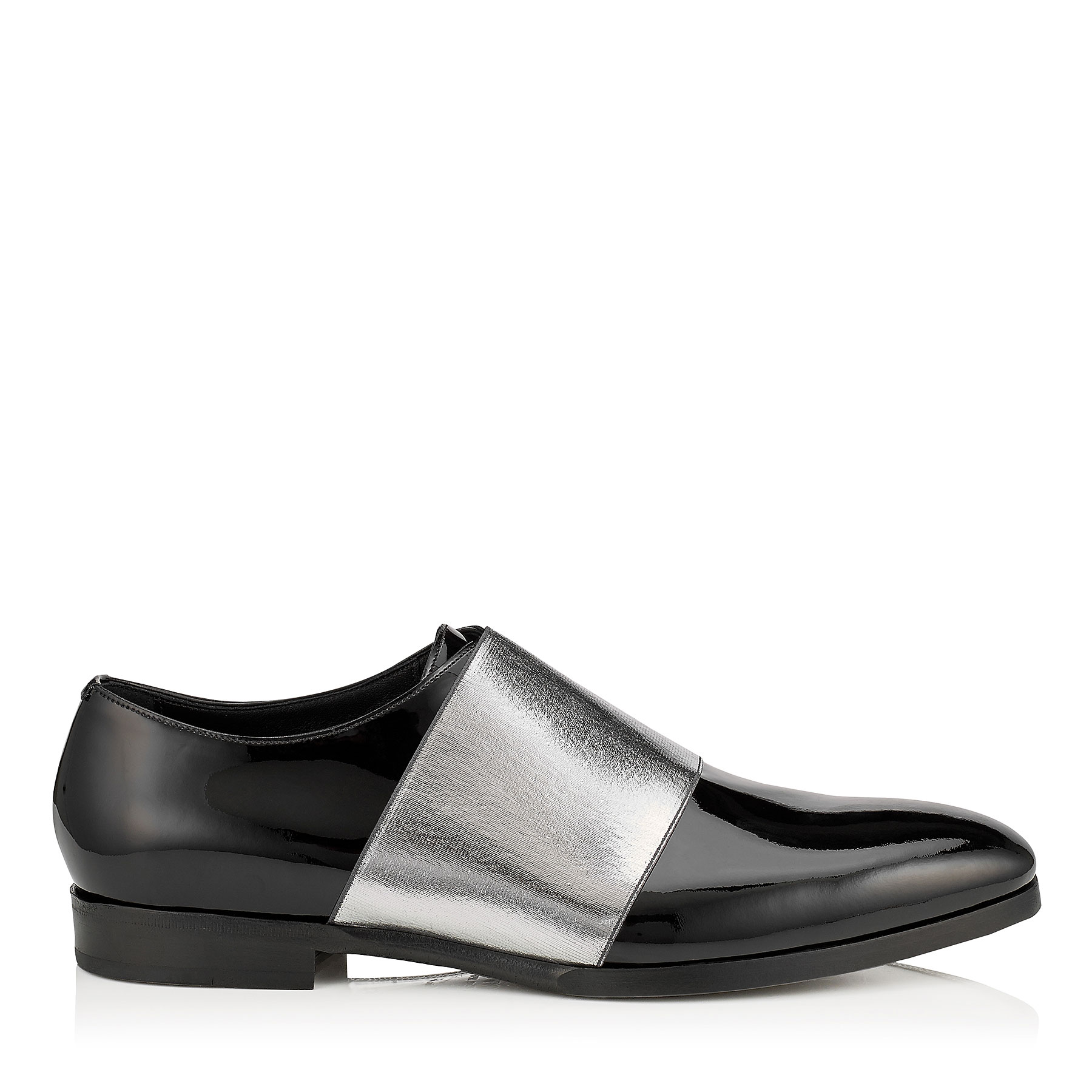 PETER Black Patent and Silver Metallic Elastic Formal Shoes