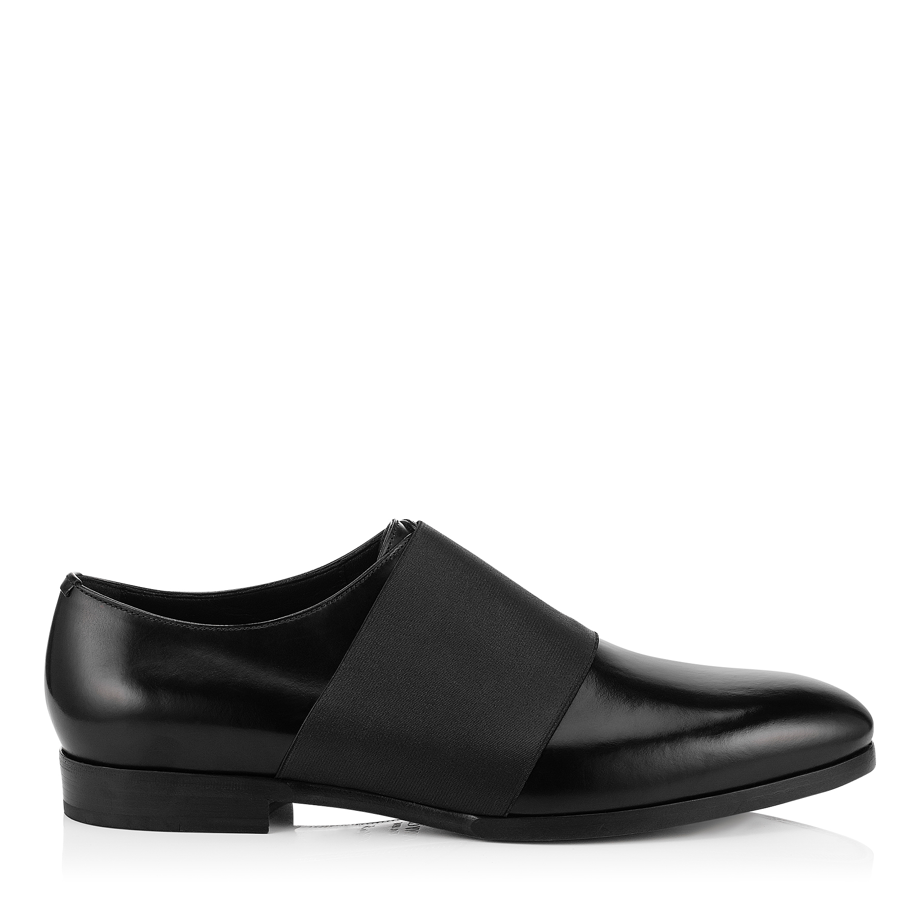 PETER Black Shiny Calf and Elastic Formal Shoes